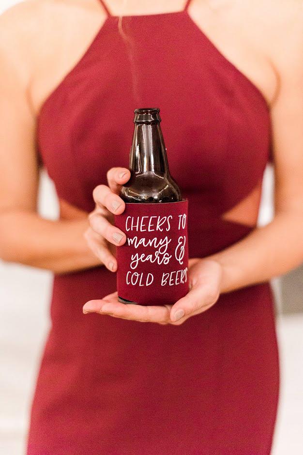 favors red koozies woman beer