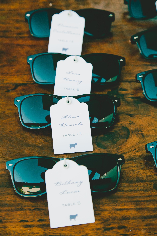 Sunglasses wedding favors and escort cards