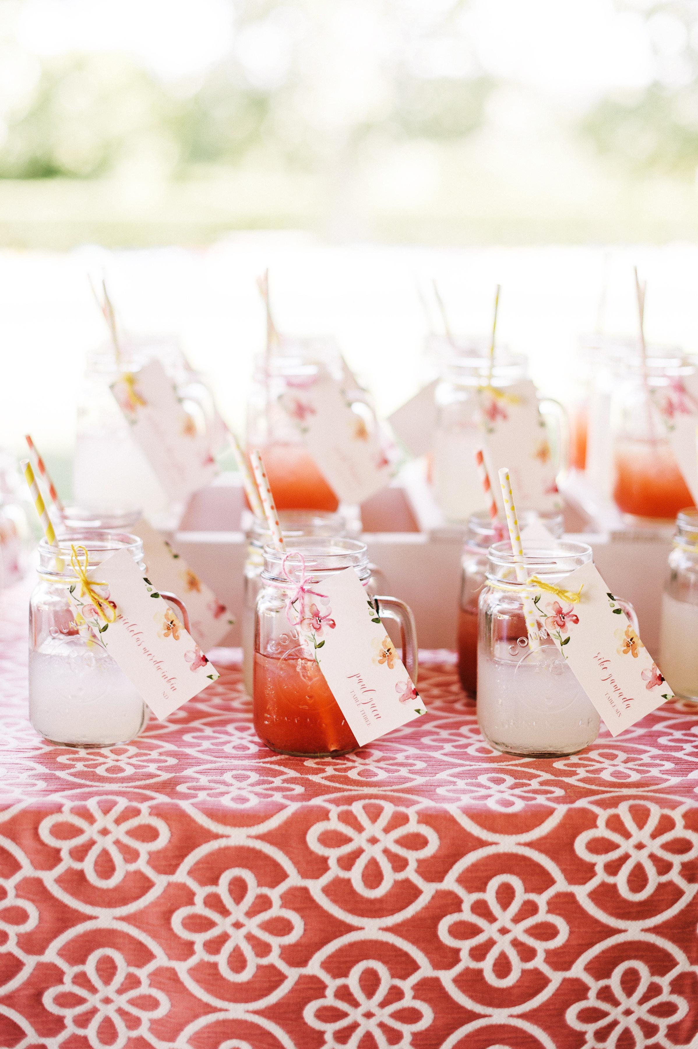 Mason jar wedding favors and signature cocktails