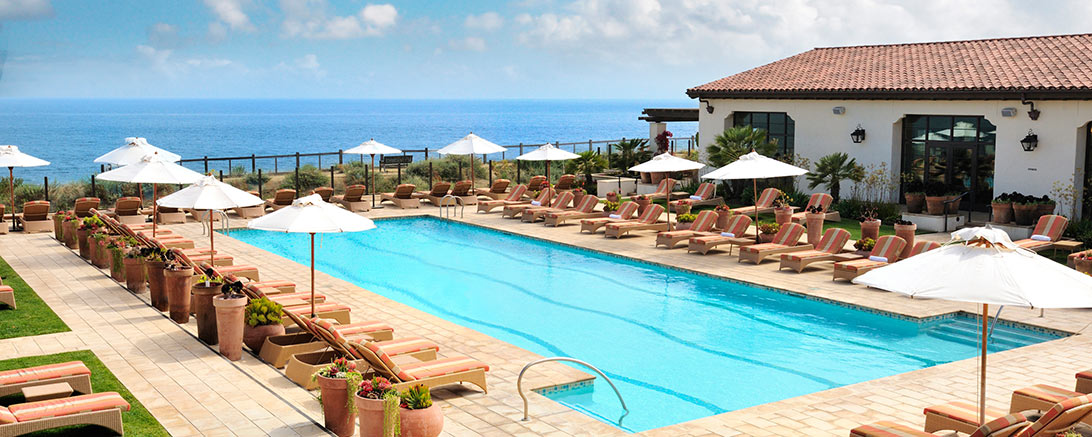 Outdoor swimming pool with views for a bachelorette retreat
