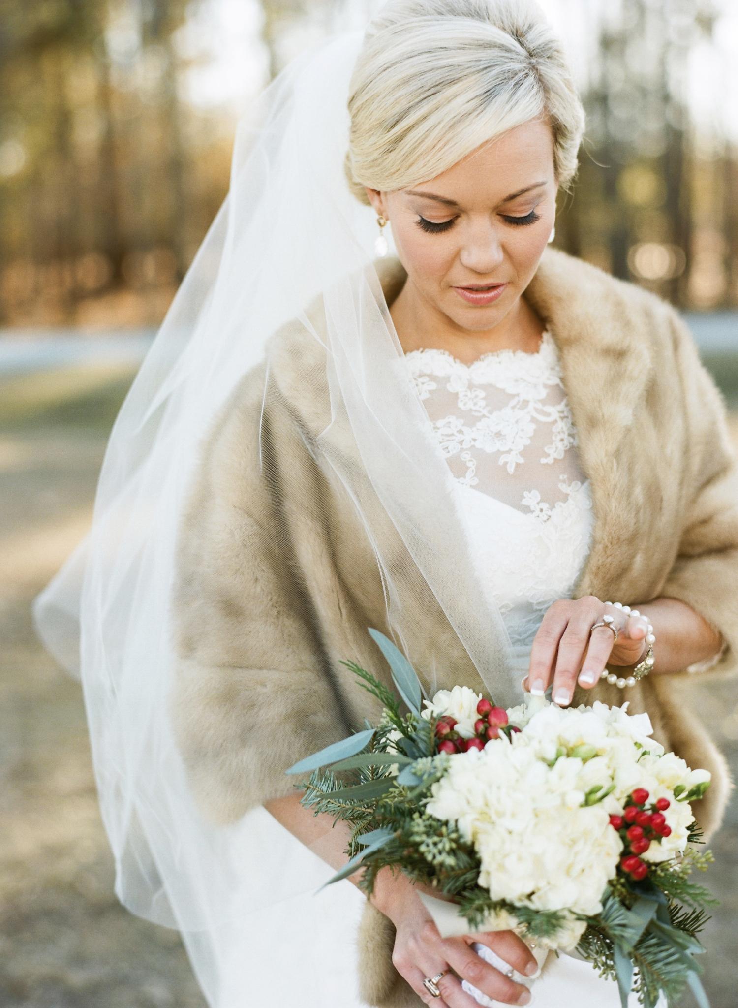 bride with coat