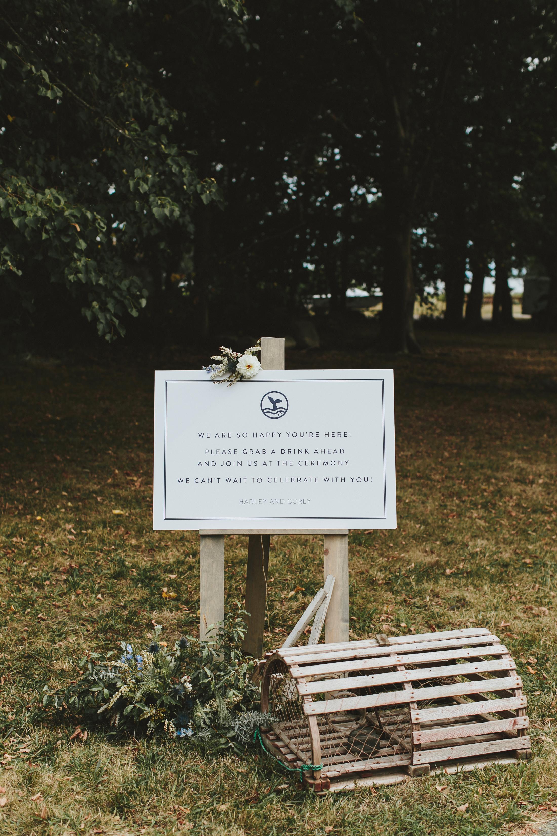 hadley corey wedding sign