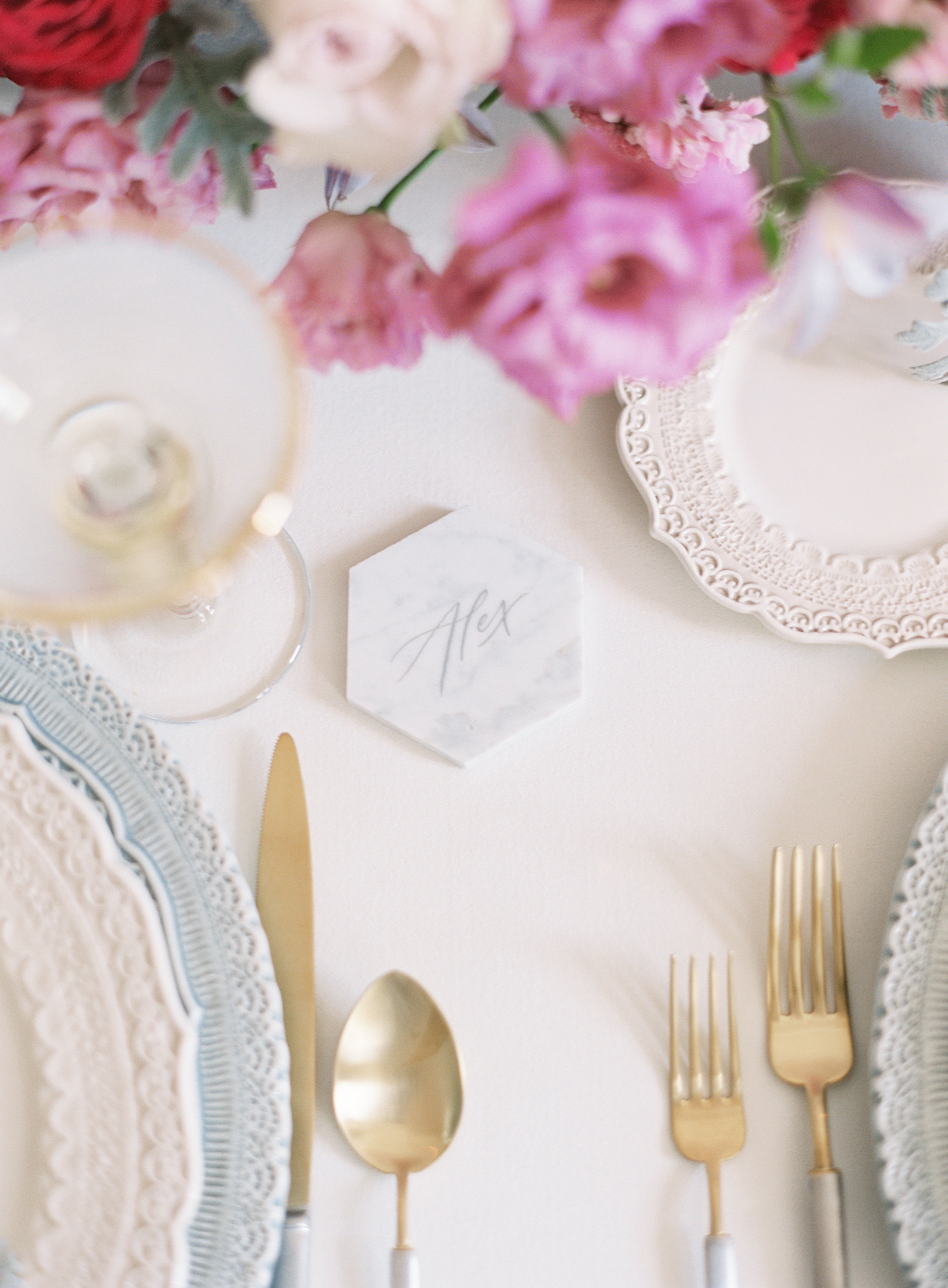 marble hexagon tile place card