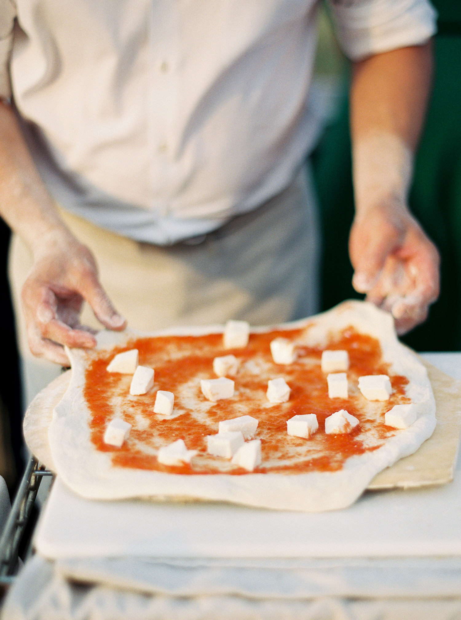 pizza being made