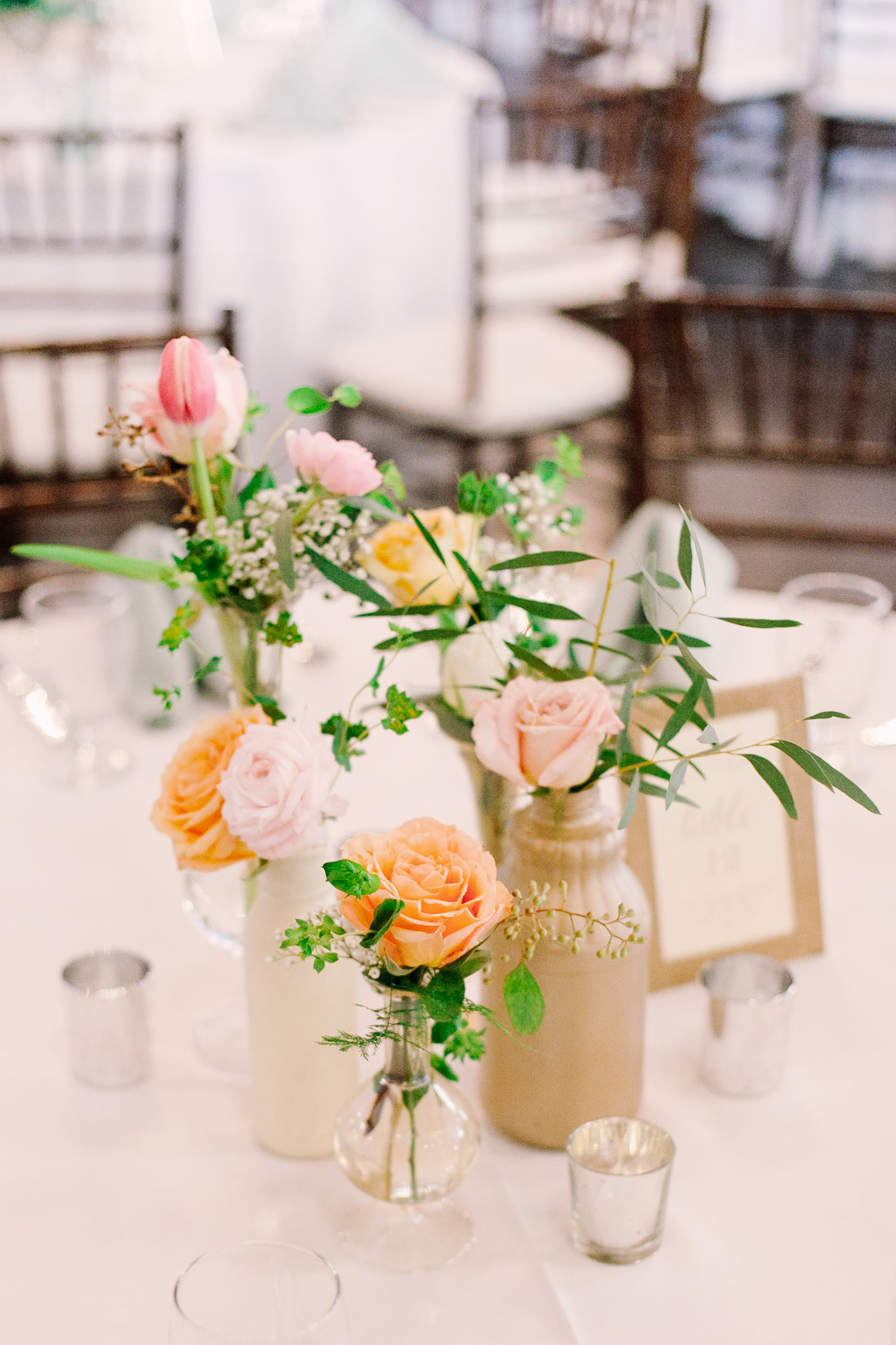 Pastel Cluster Centerpieces in Mismatched Vases