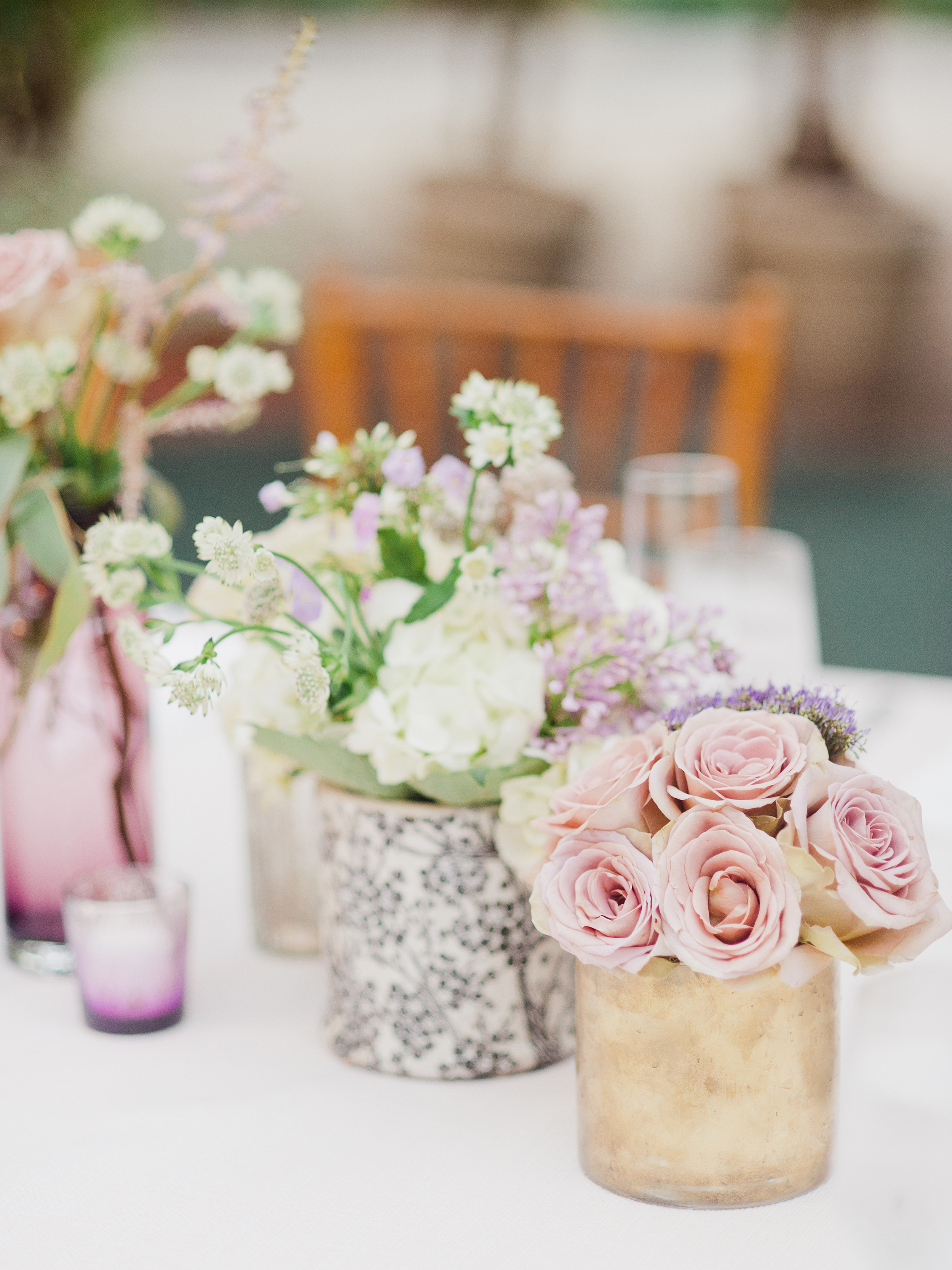 Romantic Cluster Centerpieces with Roses