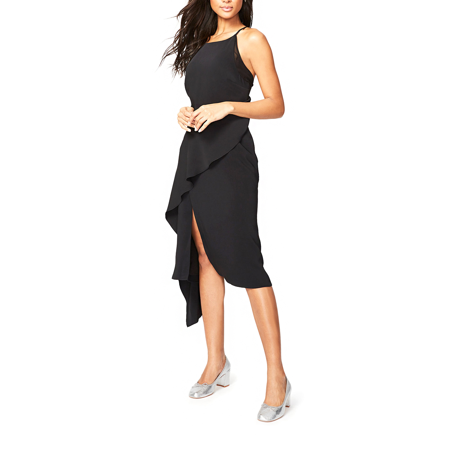 rachel roy ruffled midi dress