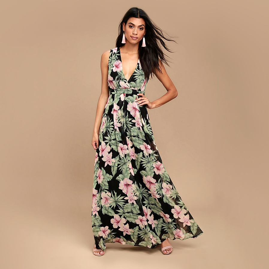 lulus love interest black floral maxi dress