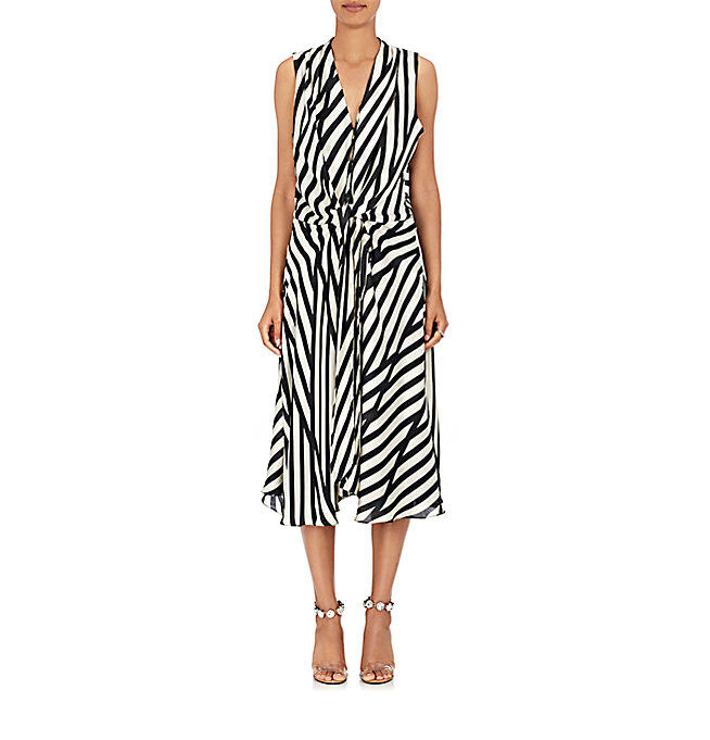azeeza claire striped wrap dress