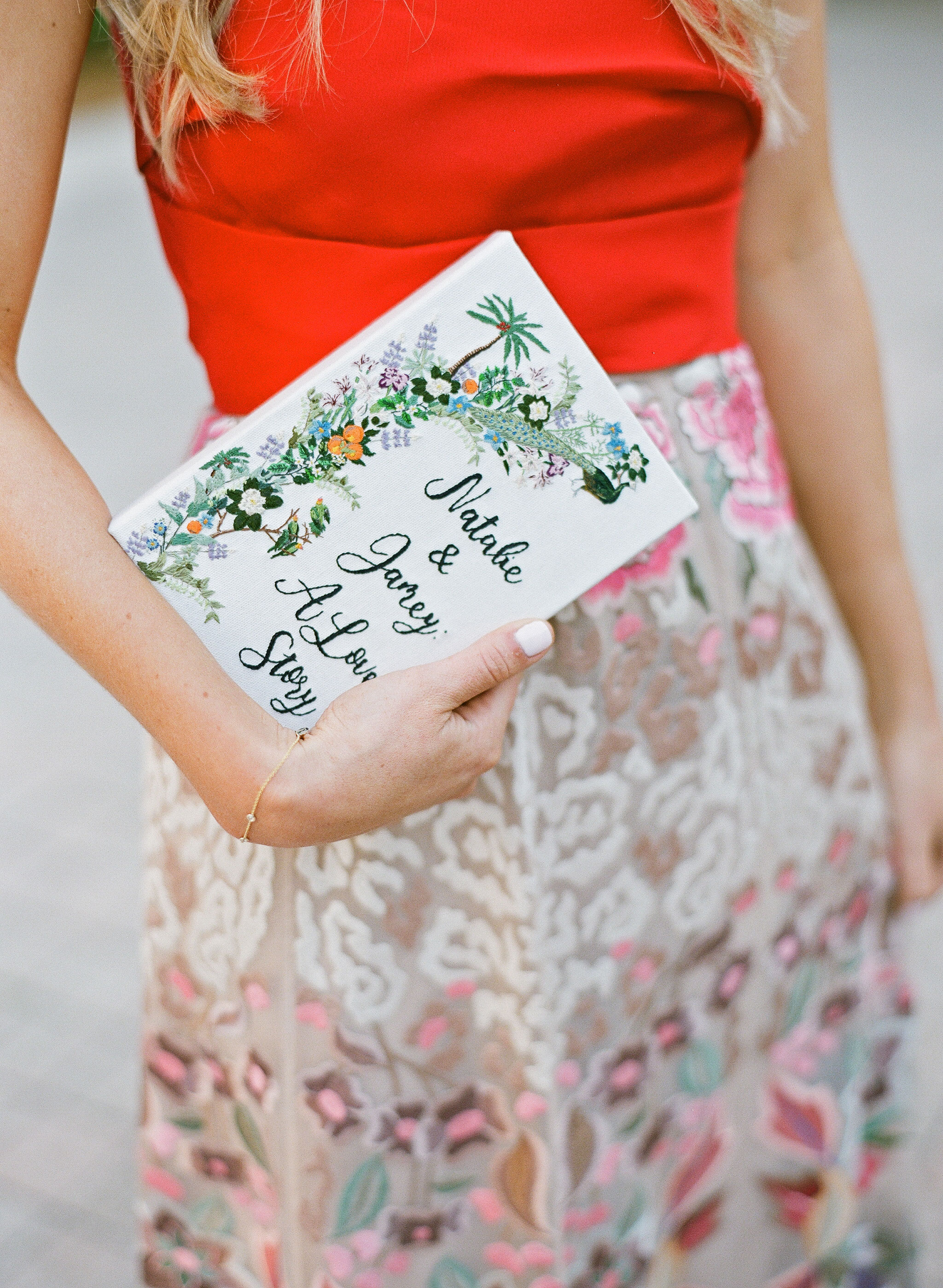 natalie jamey rehearsal dinner clutch
