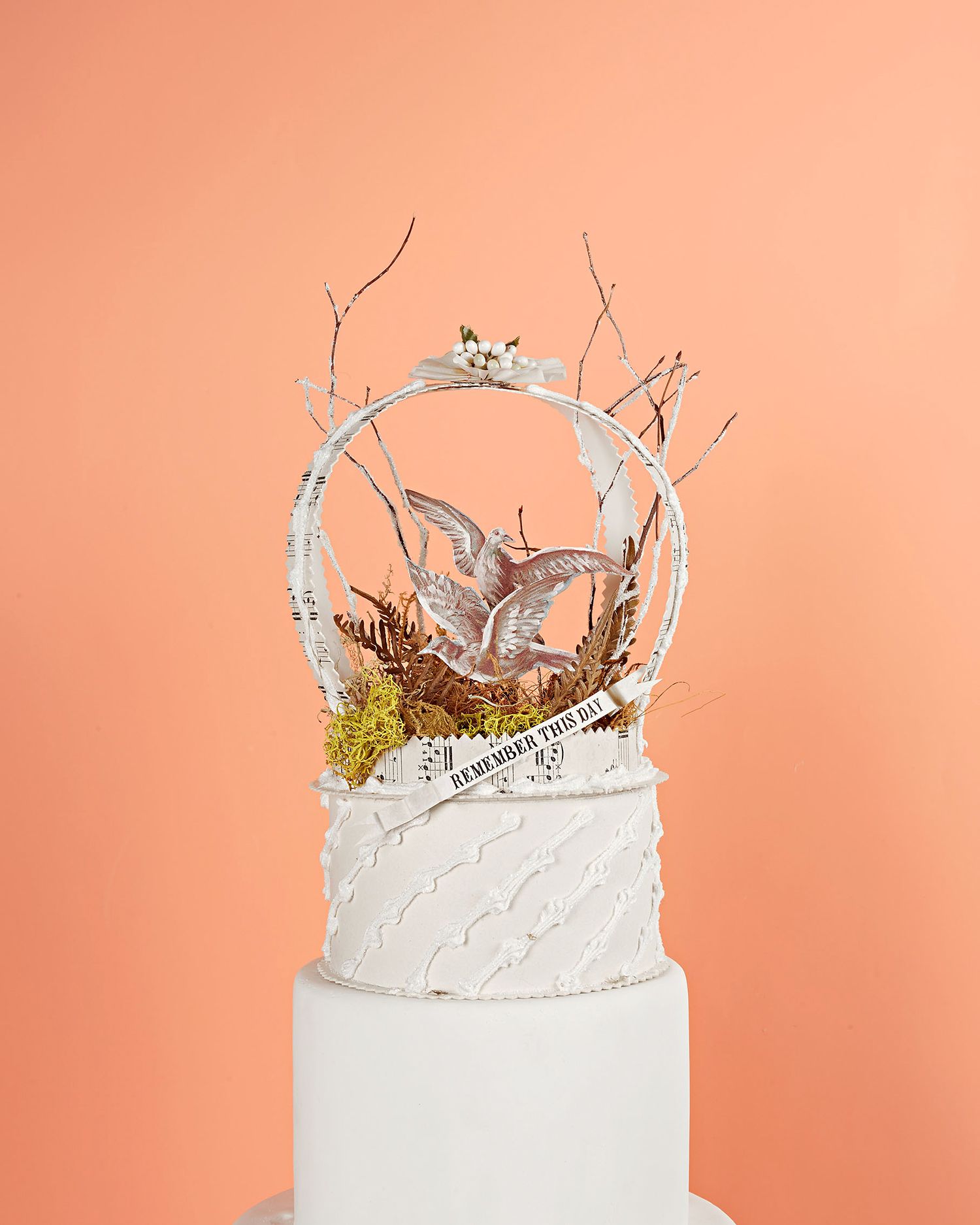 doves and ferns keepsake box cake topper