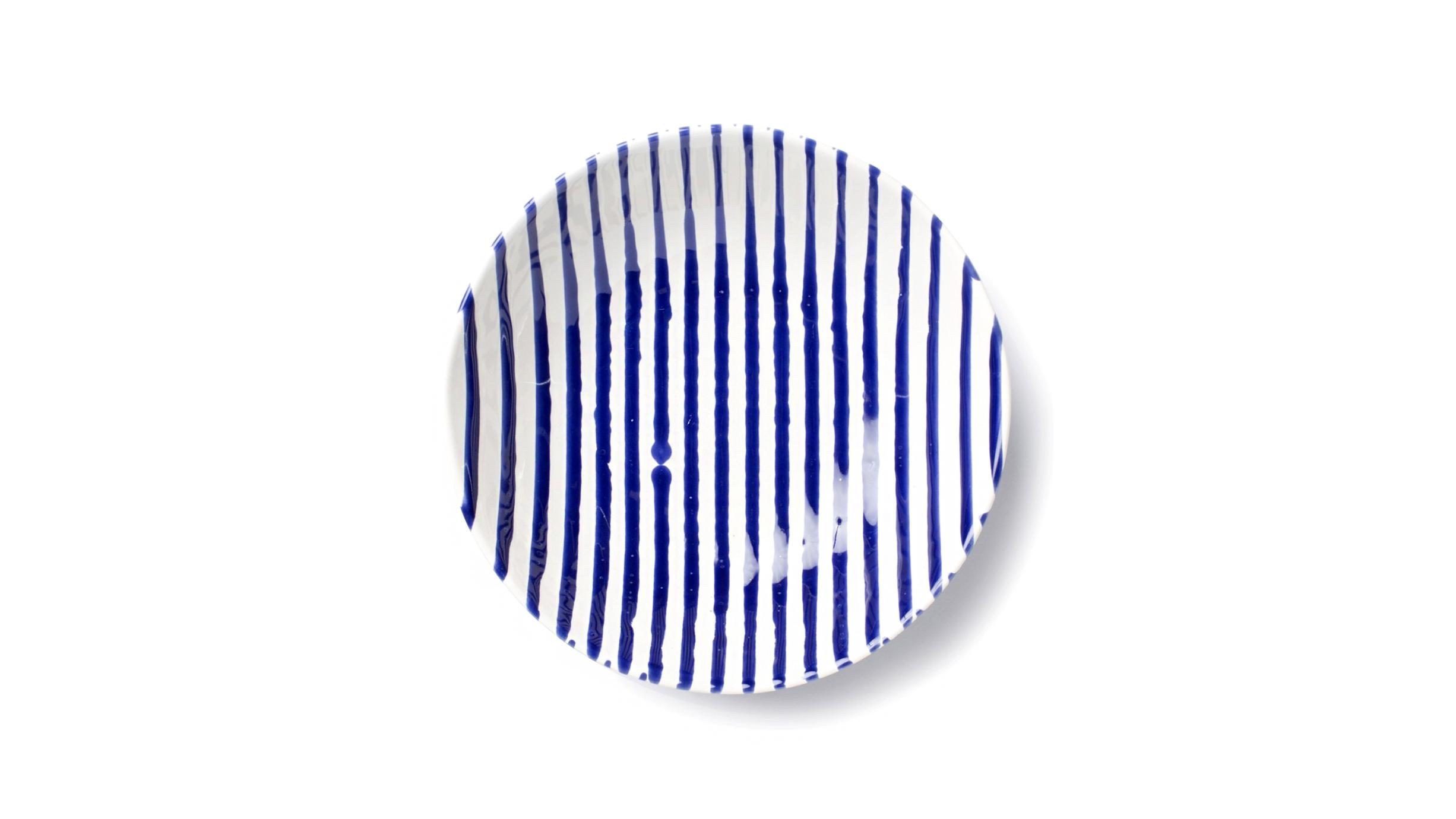 vietri blue-and-white striped pasta bowl