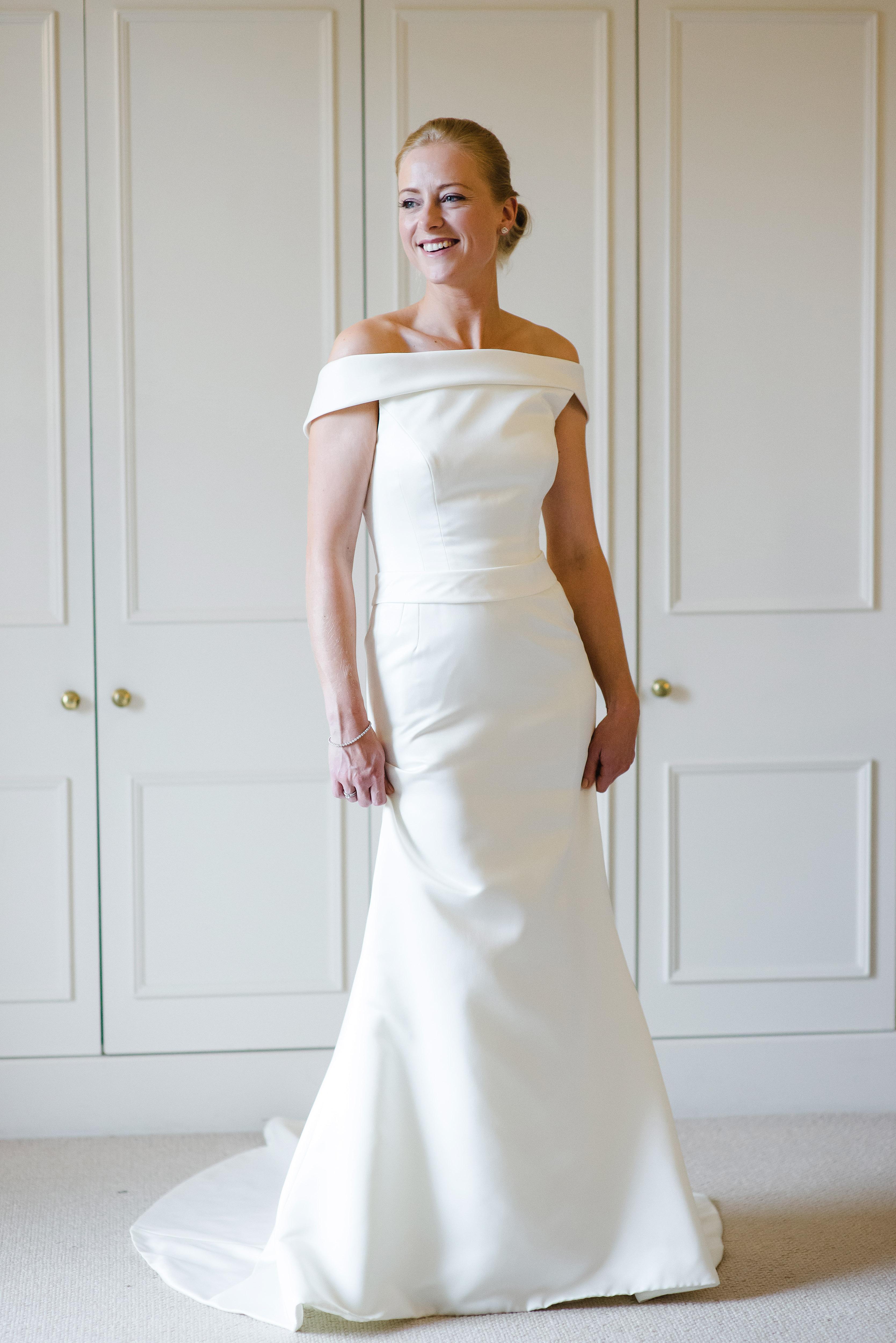 bride in off-the-shoulder dress