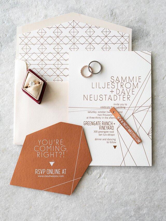 28 Geometric Wedding Invitations With An Edge Martha Stewart Weddings