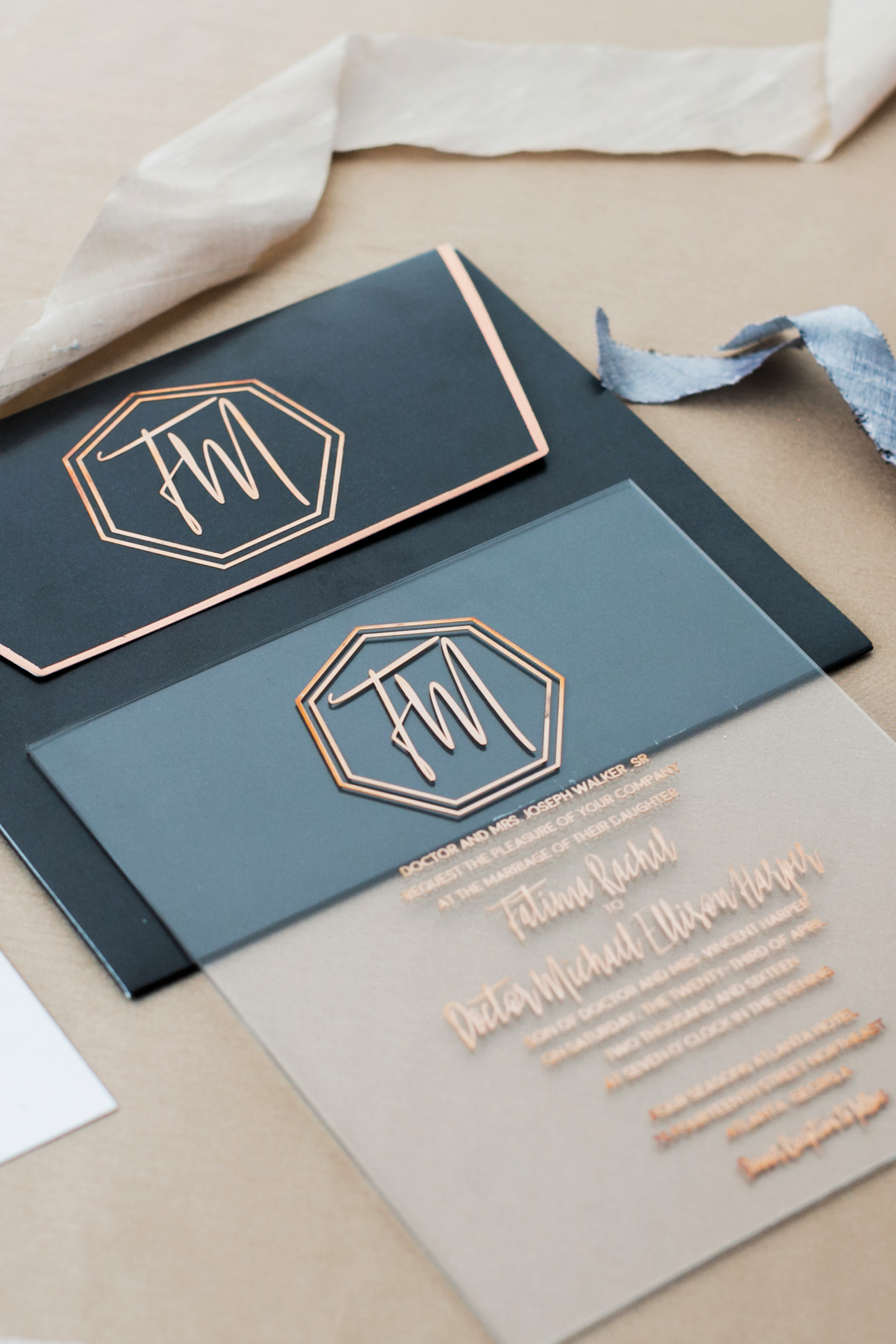 metallic wedding invitations