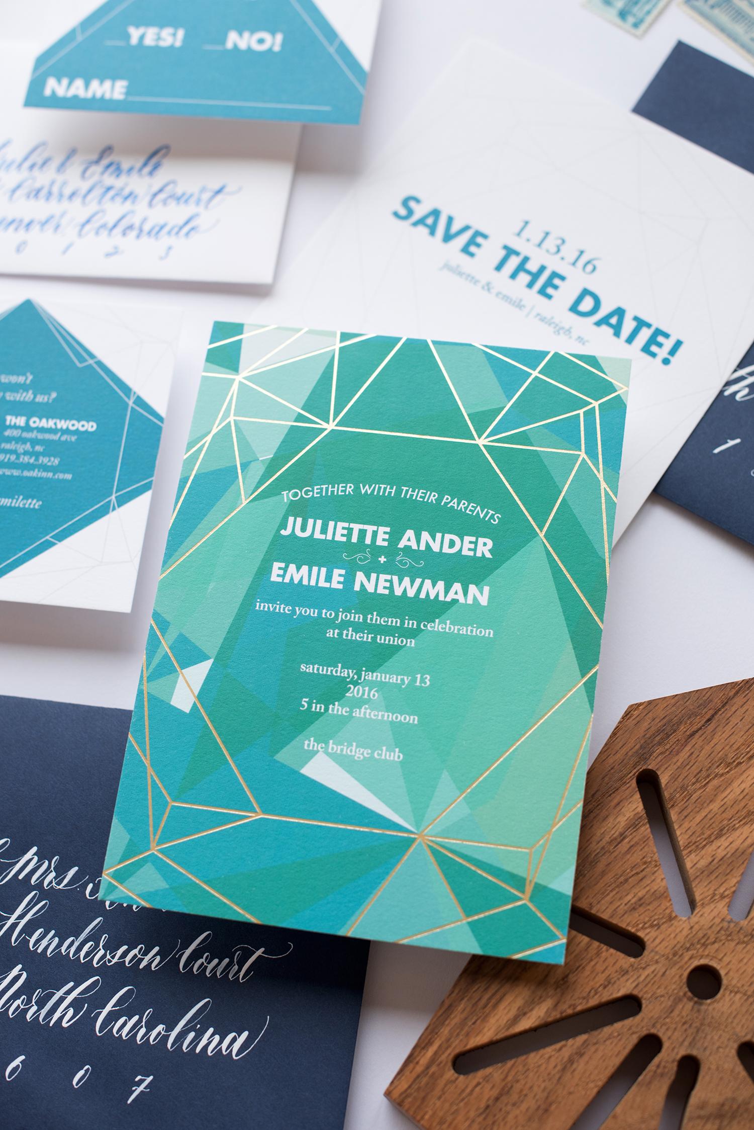 gemstone and gold geometric wedding invitations