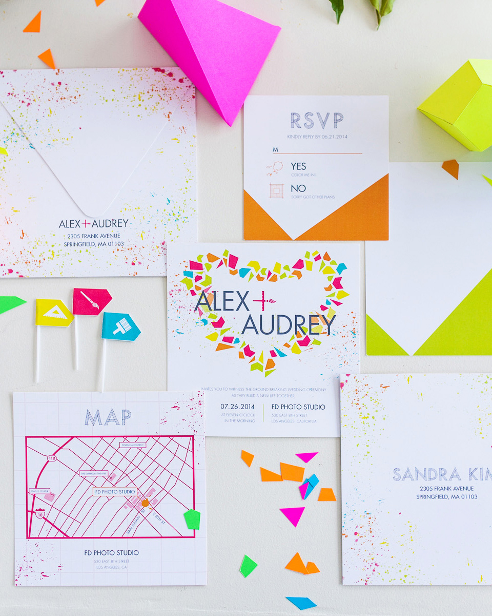 neon polygons geometric wedding invitations