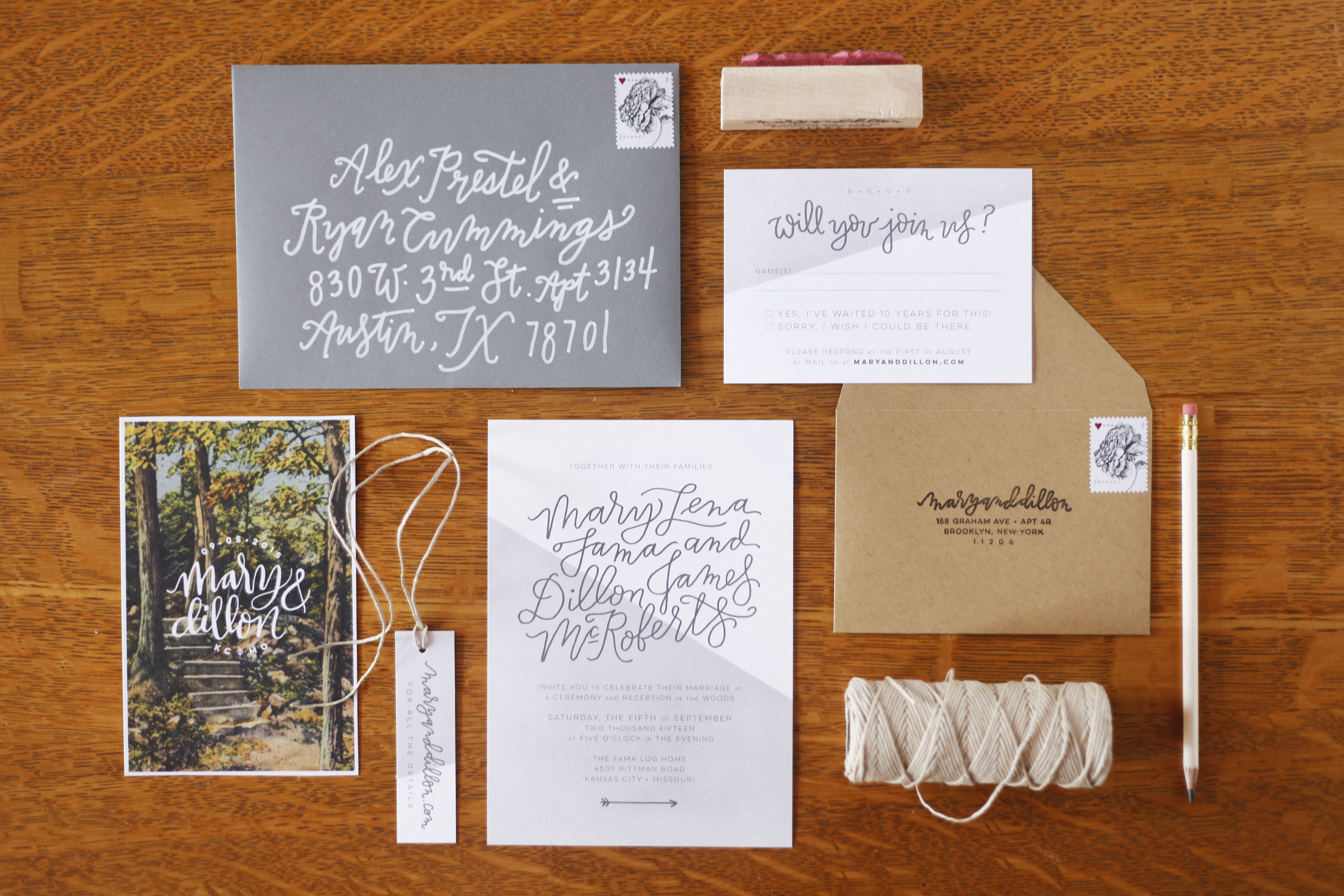 color-blocked wedding invitation