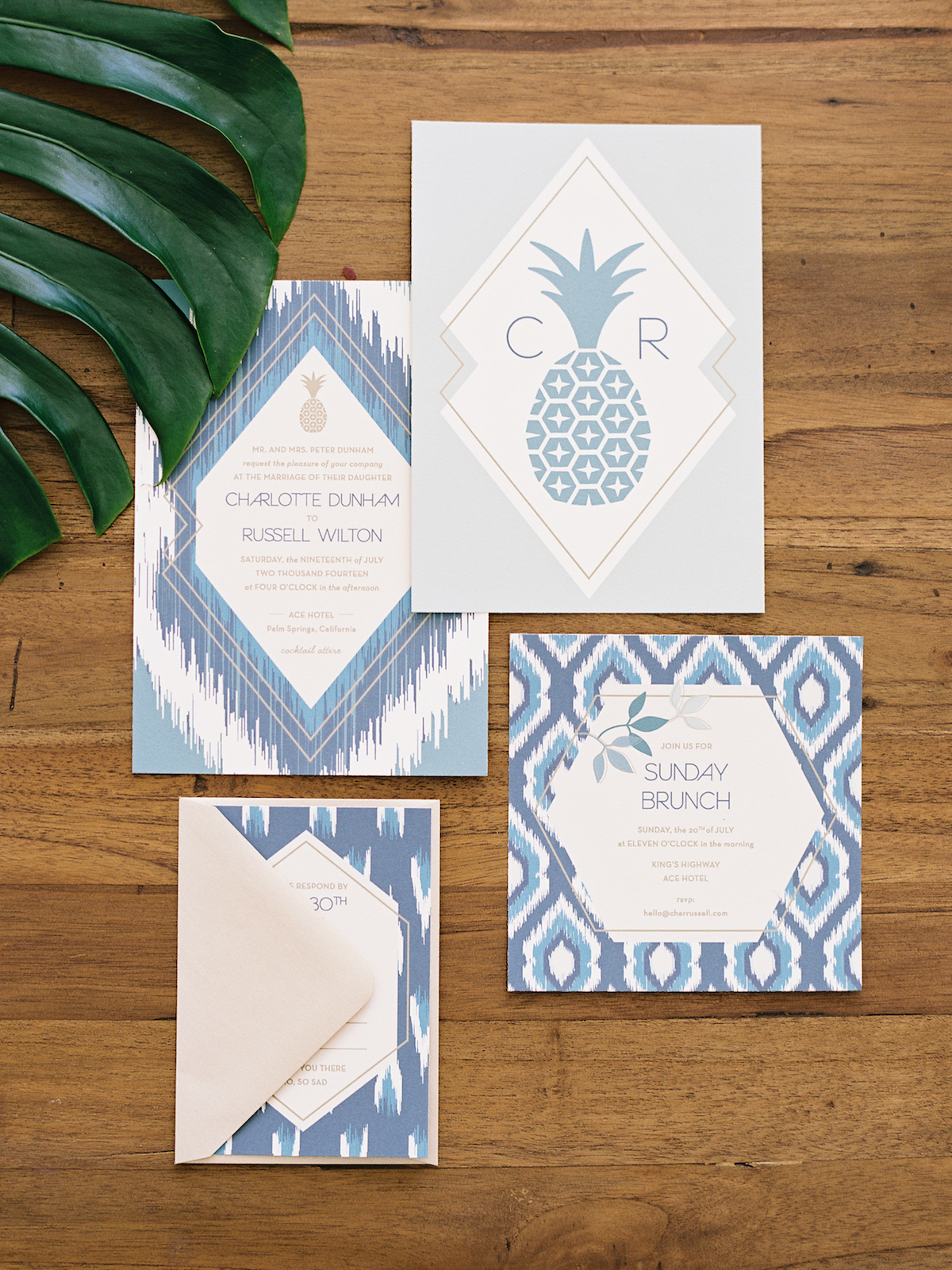 tropical boho wedding invitation
