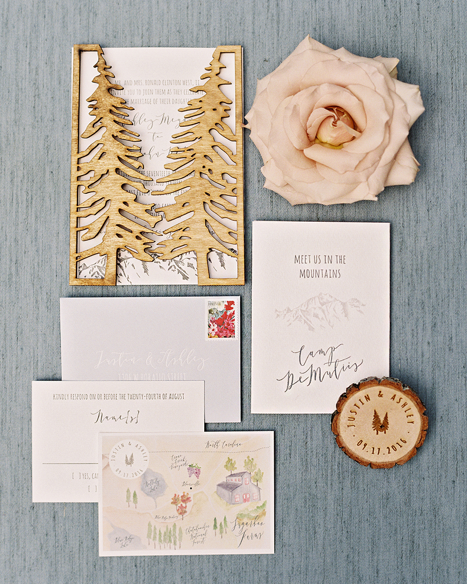 ashley and justin wedding invitation suite