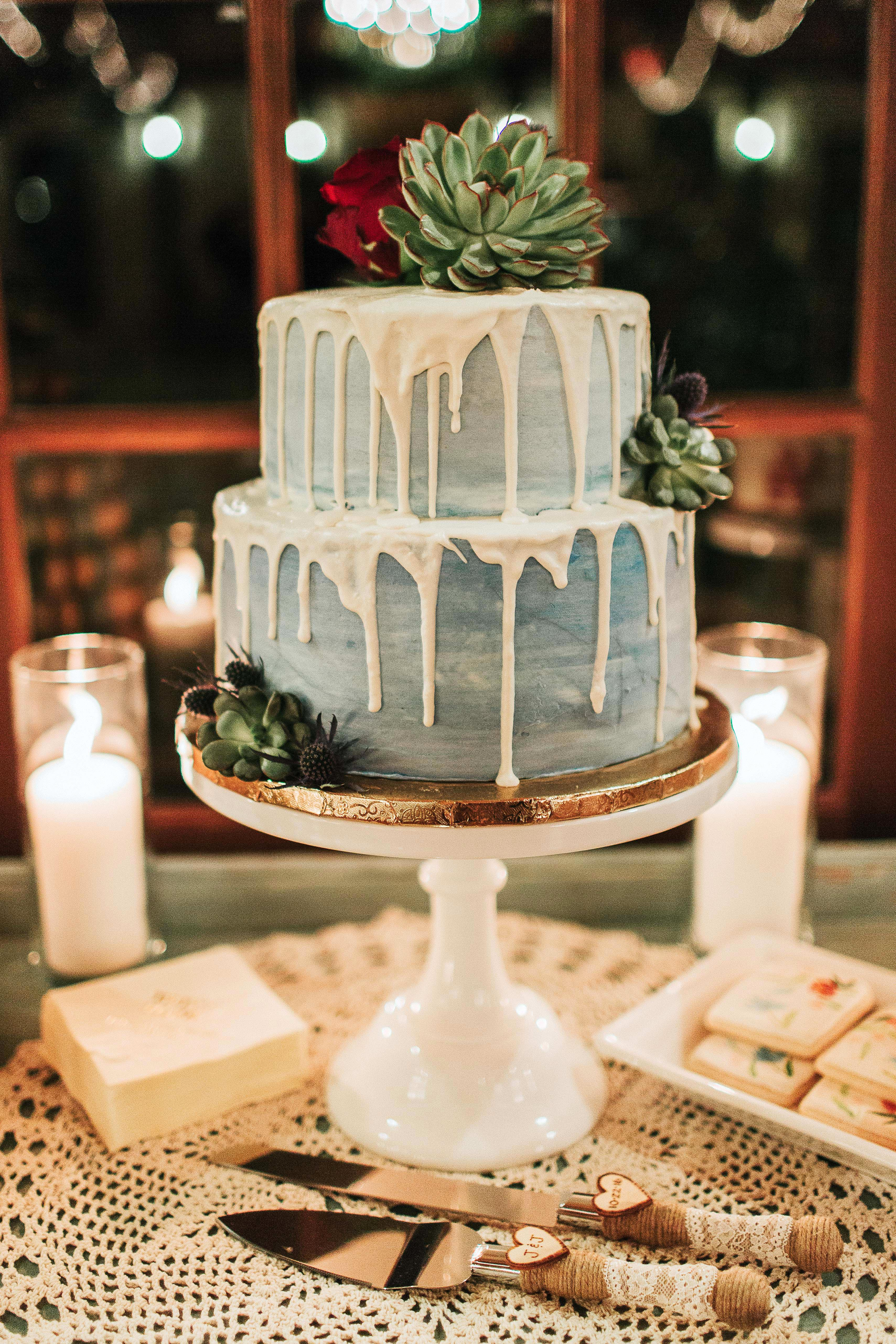 blue drip cake with succulents