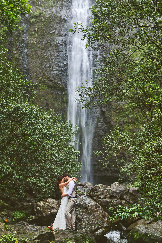 epic elopement locations kaui waterfall
