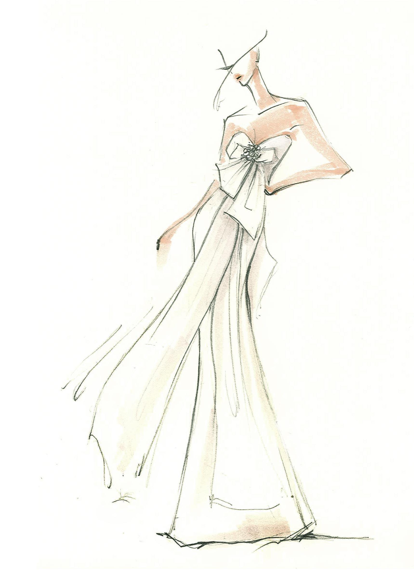 amsale wedding dress sketch