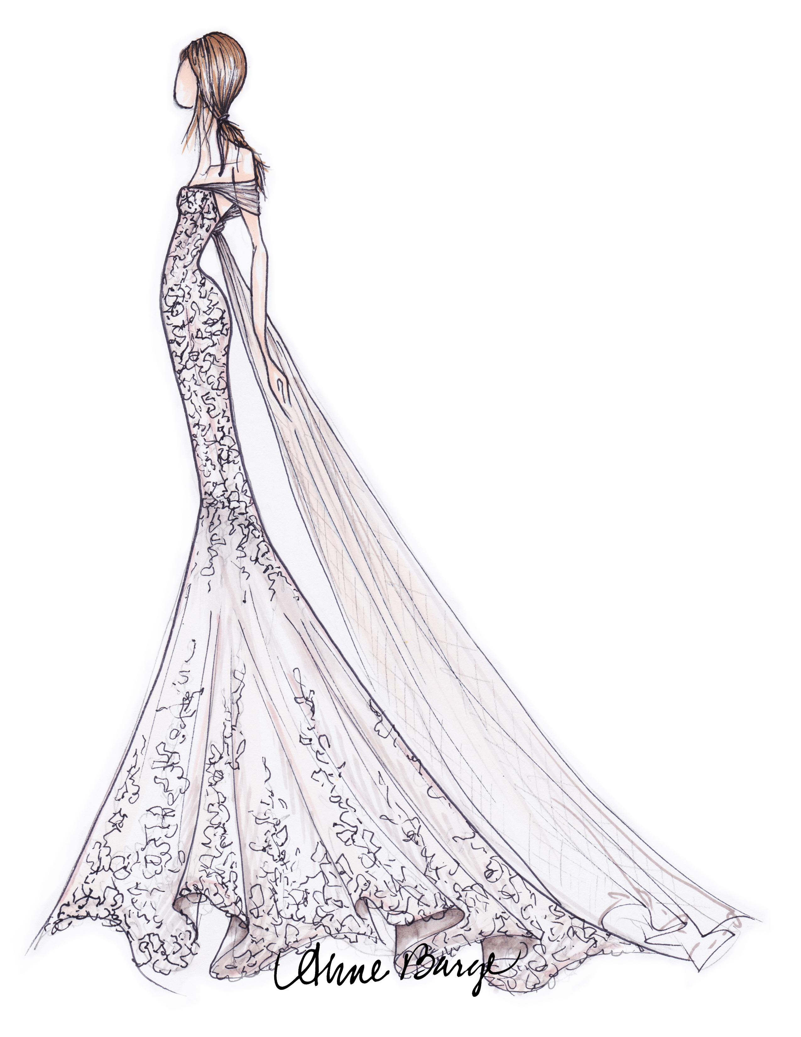 anne barge wedding dress sketch