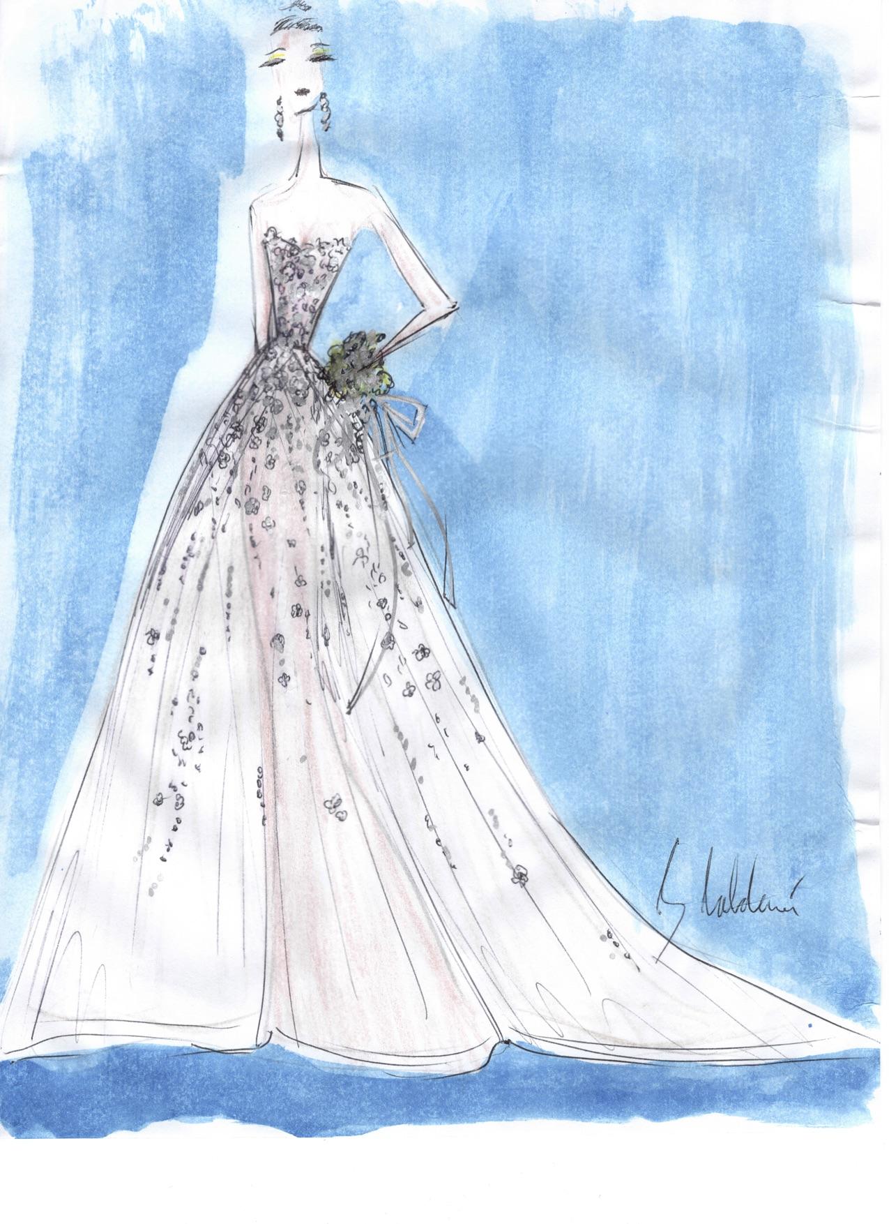 azul by liancarlo wedding dress sketch