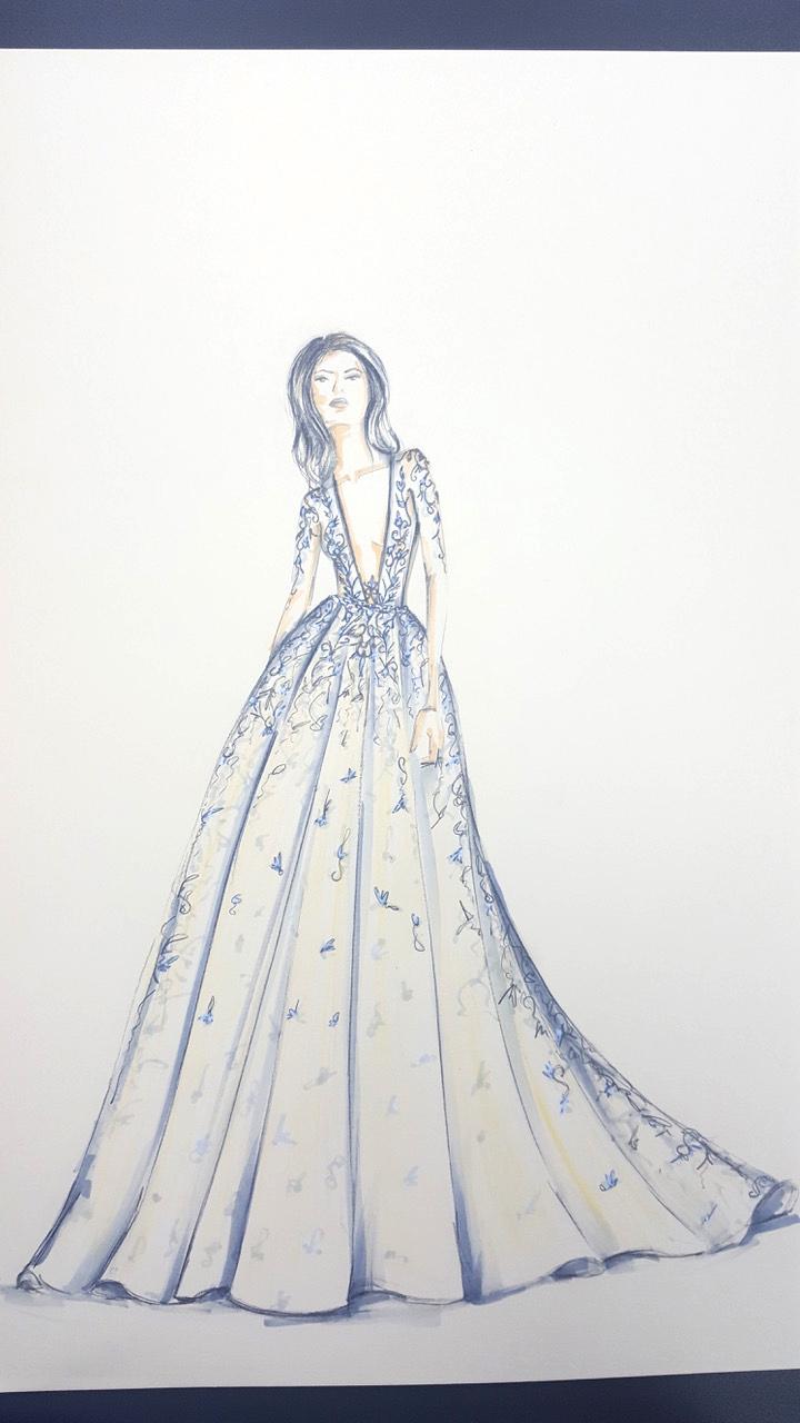 berta wedding dress sketch