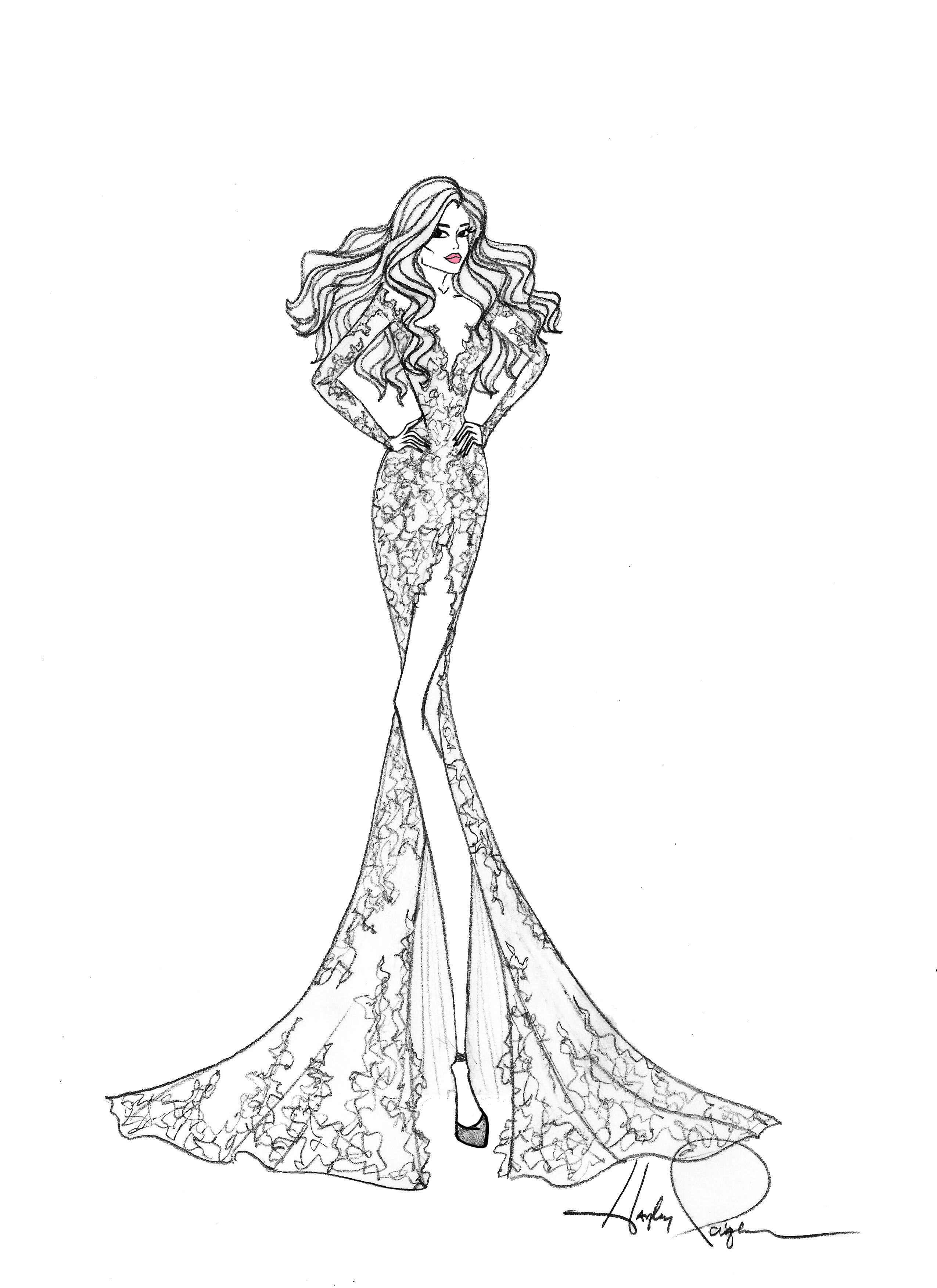 blush by hayley paige wedding dress sketch