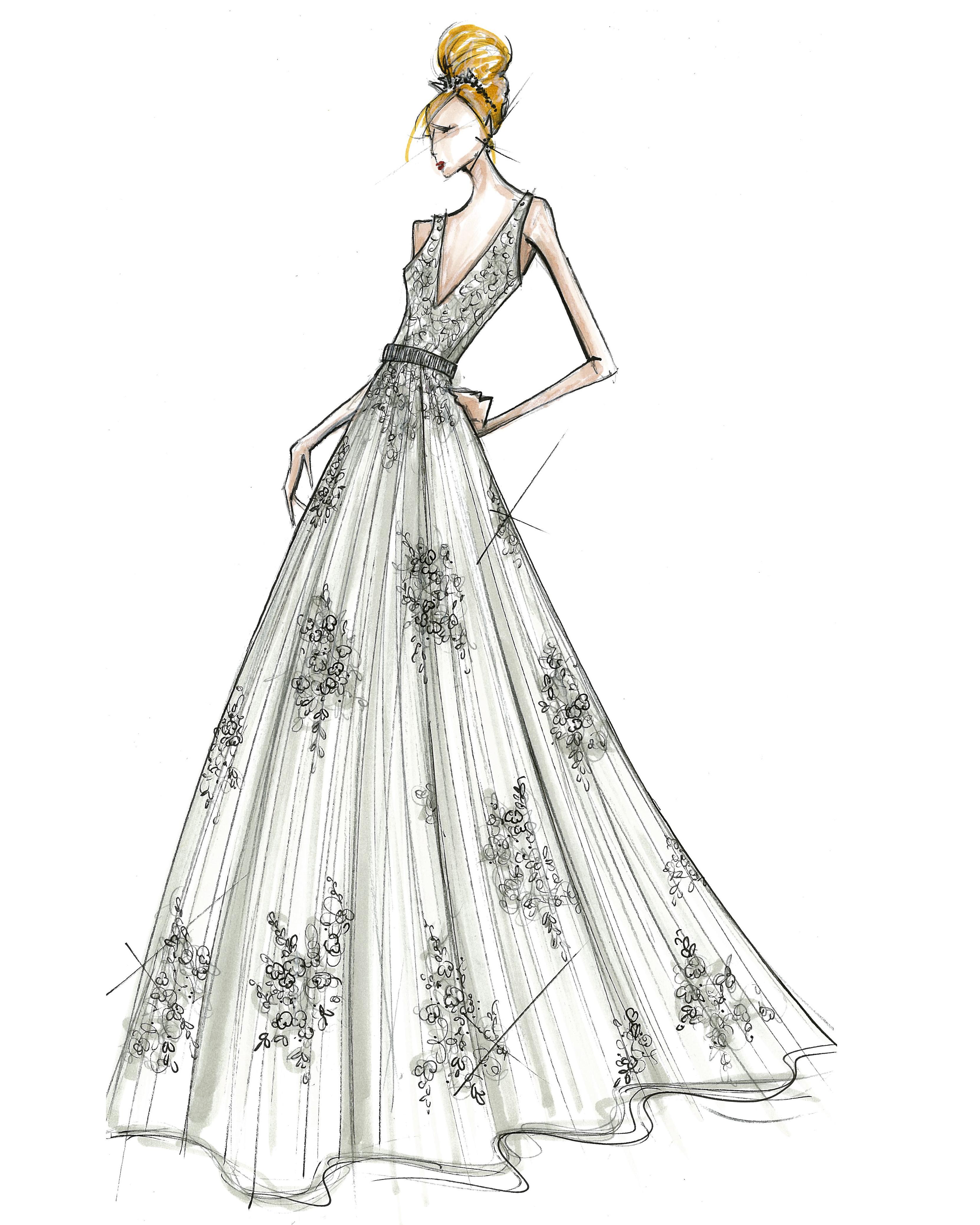 david's bridal wedding dress sketch