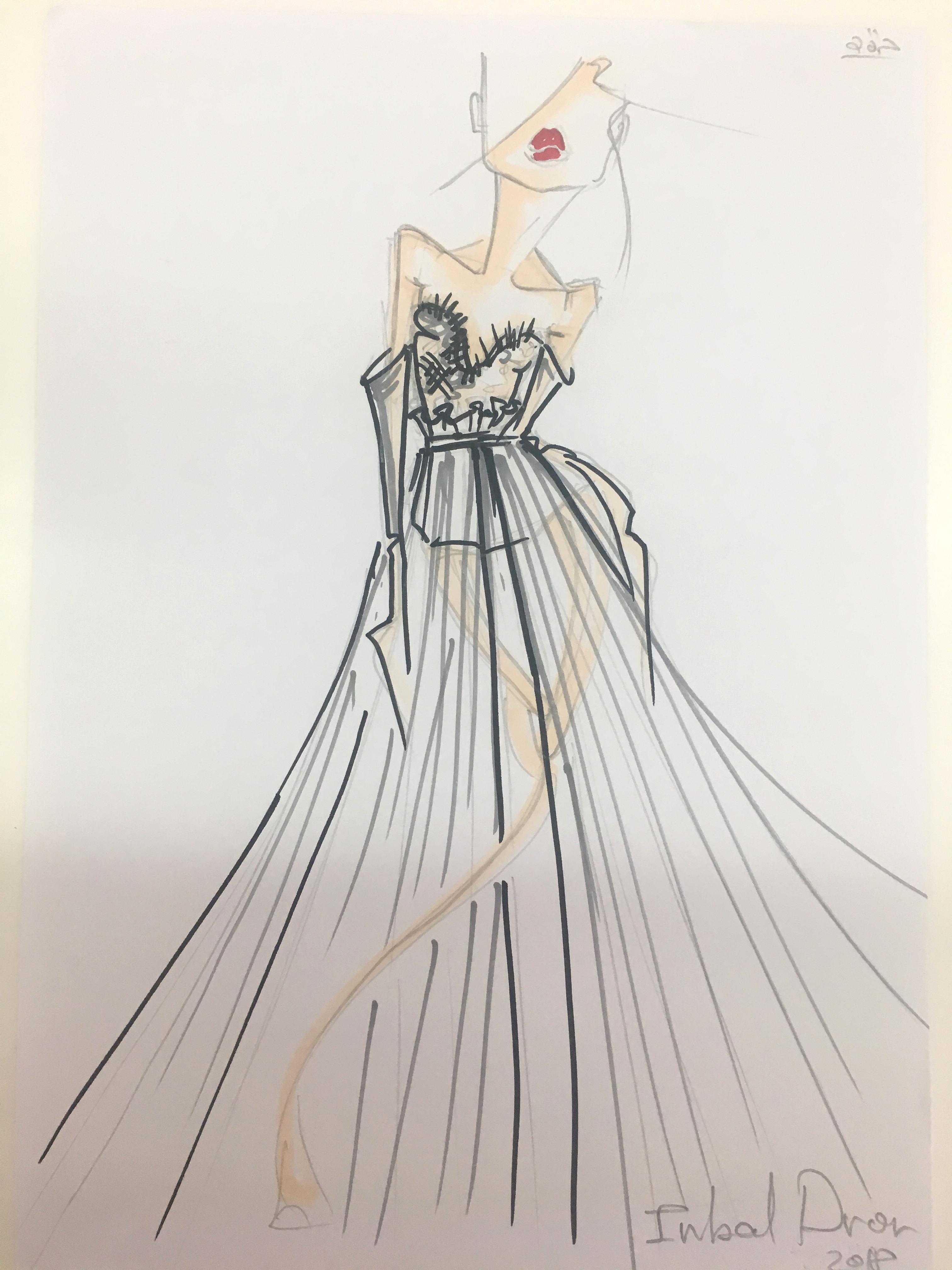 inbal dror wedding dress sketch