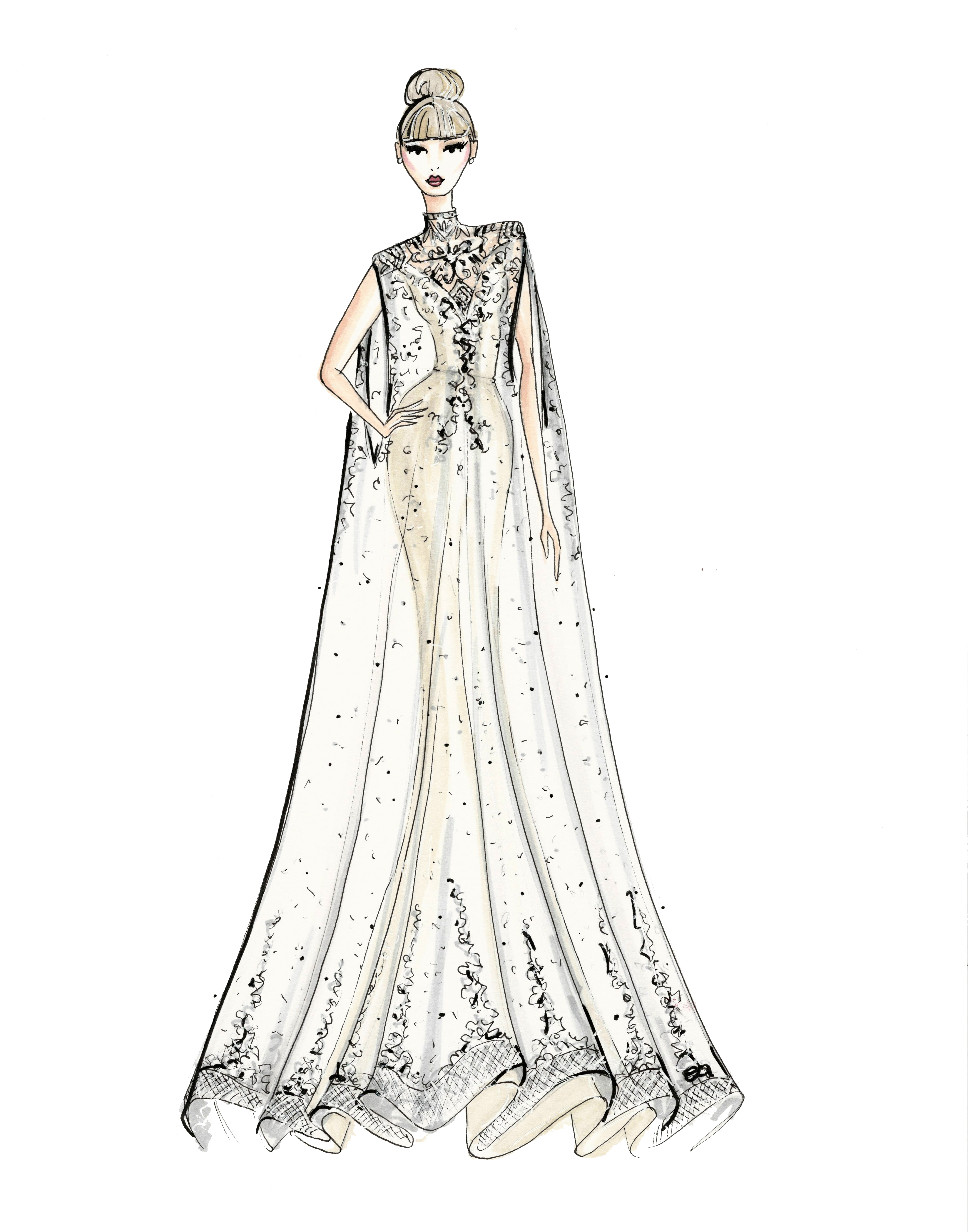 ines di santo wedding dress sketch
