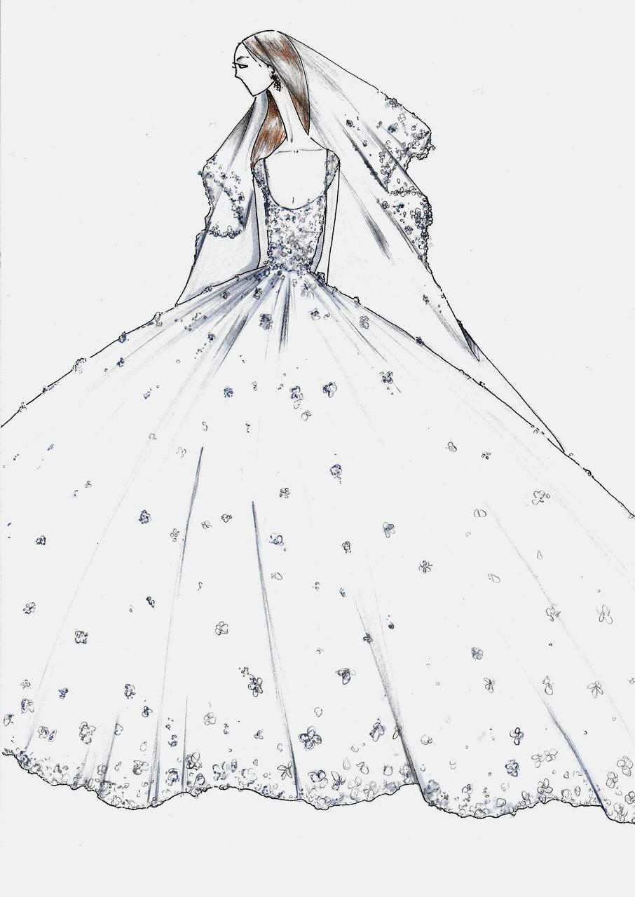 justin alexander wedding dress sketch