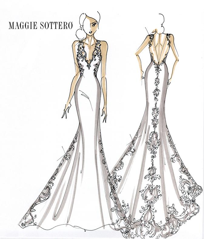 maggie sottero wedding dress sketch