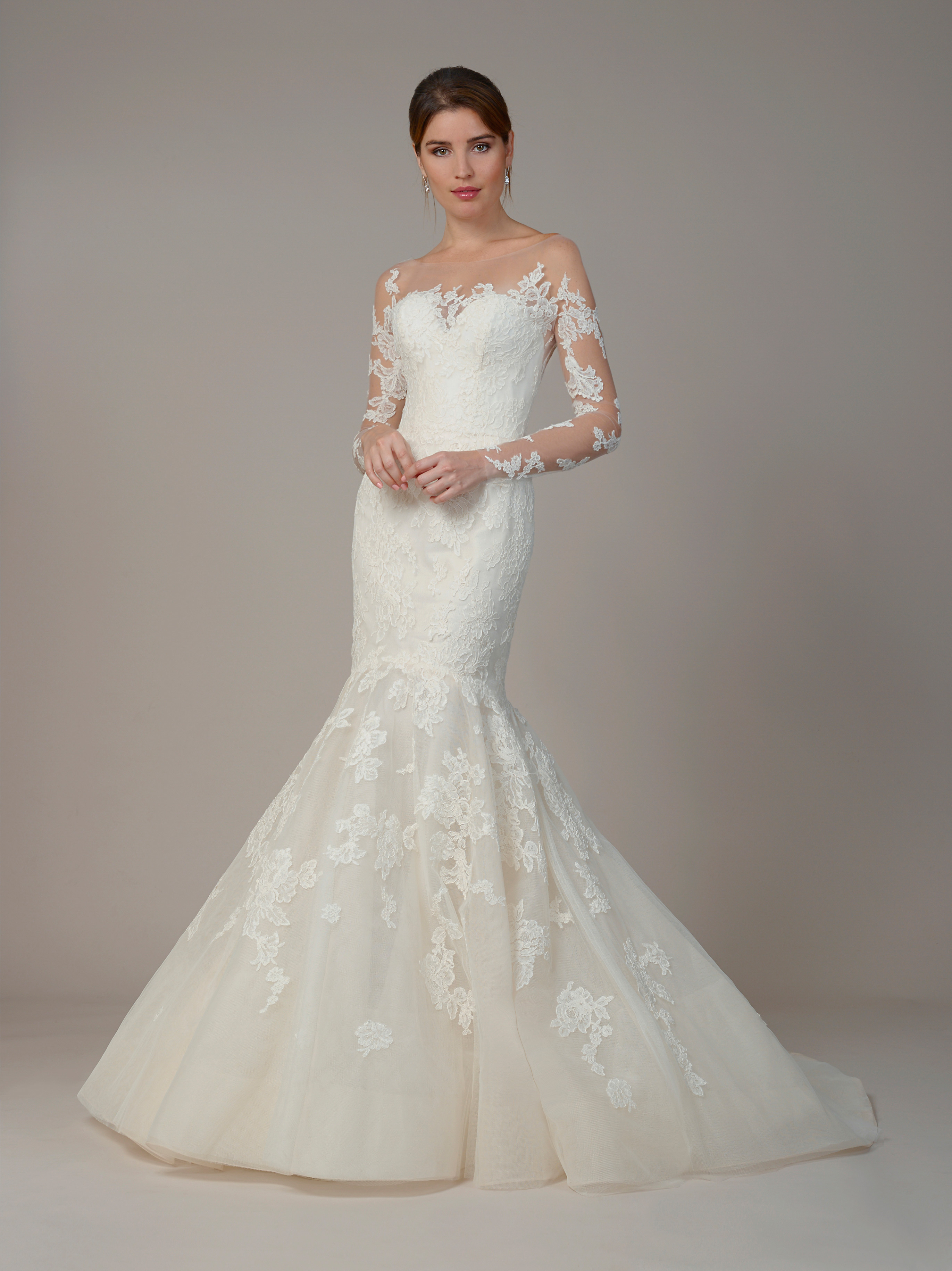 liancarlo wedding dress fall 2018 lace long sleeve illusion mermaid