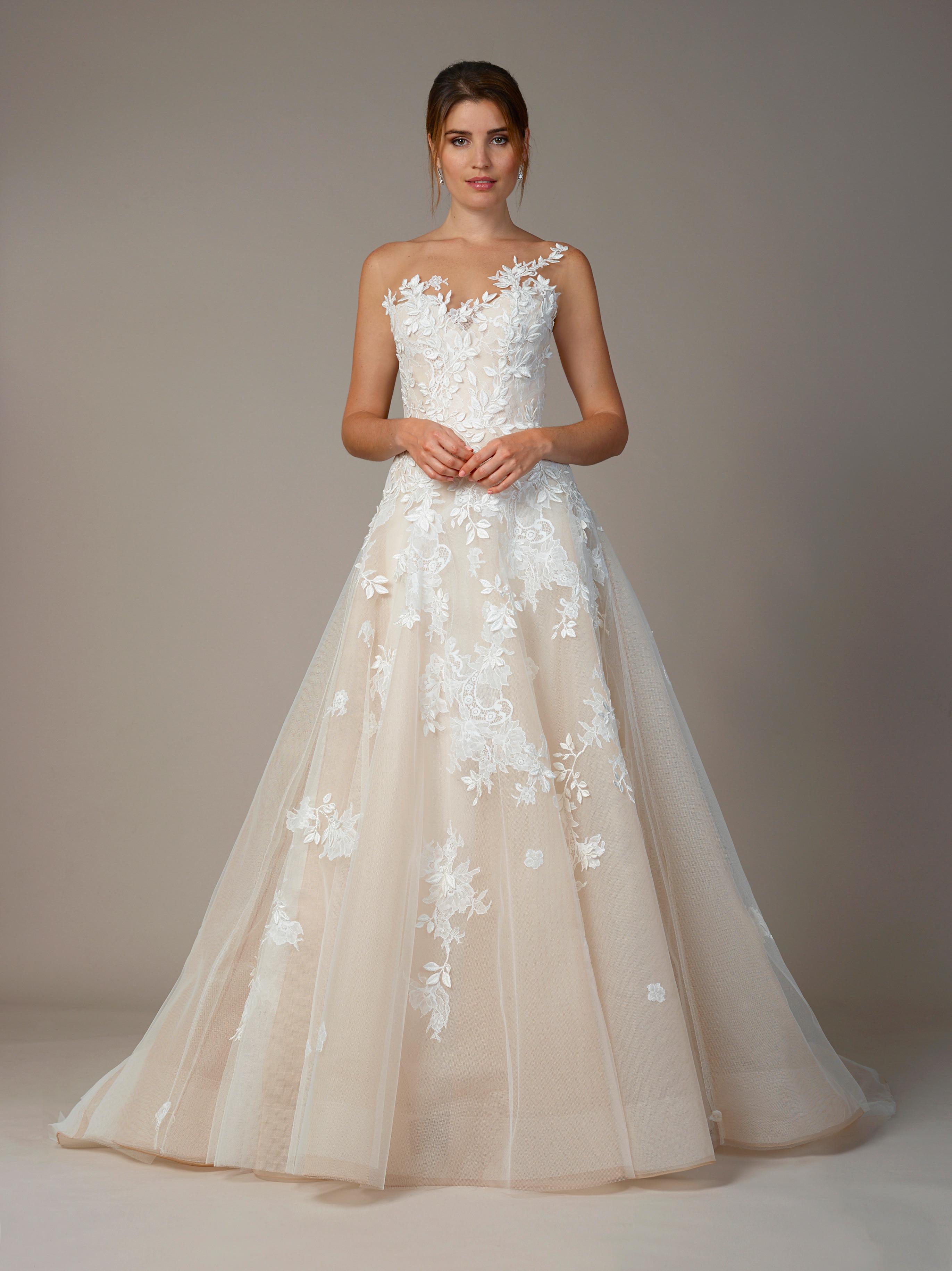 liancarlo wedding dress fall 2018 one-shoulder lace blush