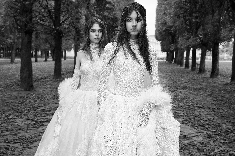 vera wang high neck lace wedding dress with fur 2018