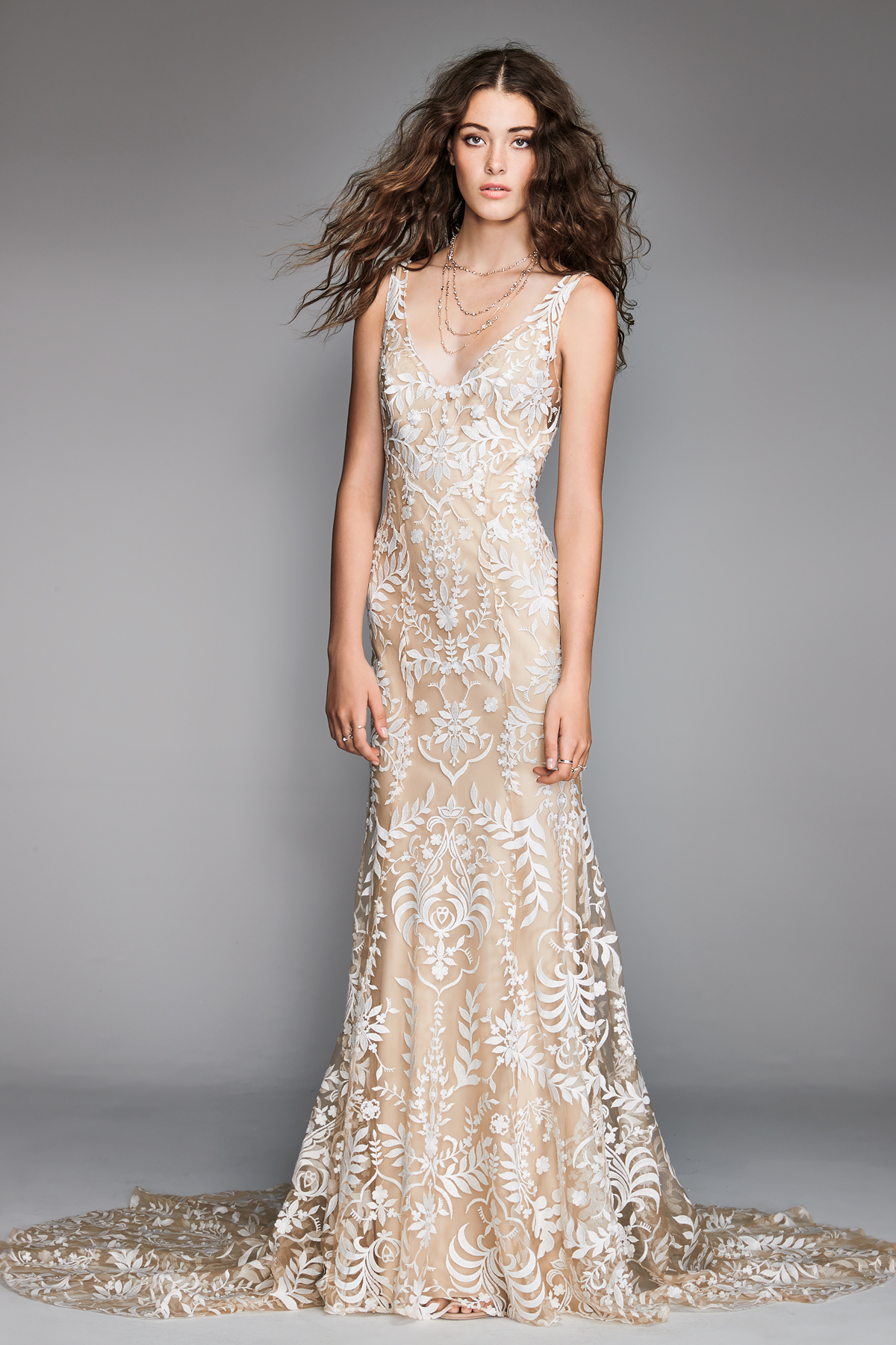 willowby by watters 2018 champagne v-neck floral detail wedding dress