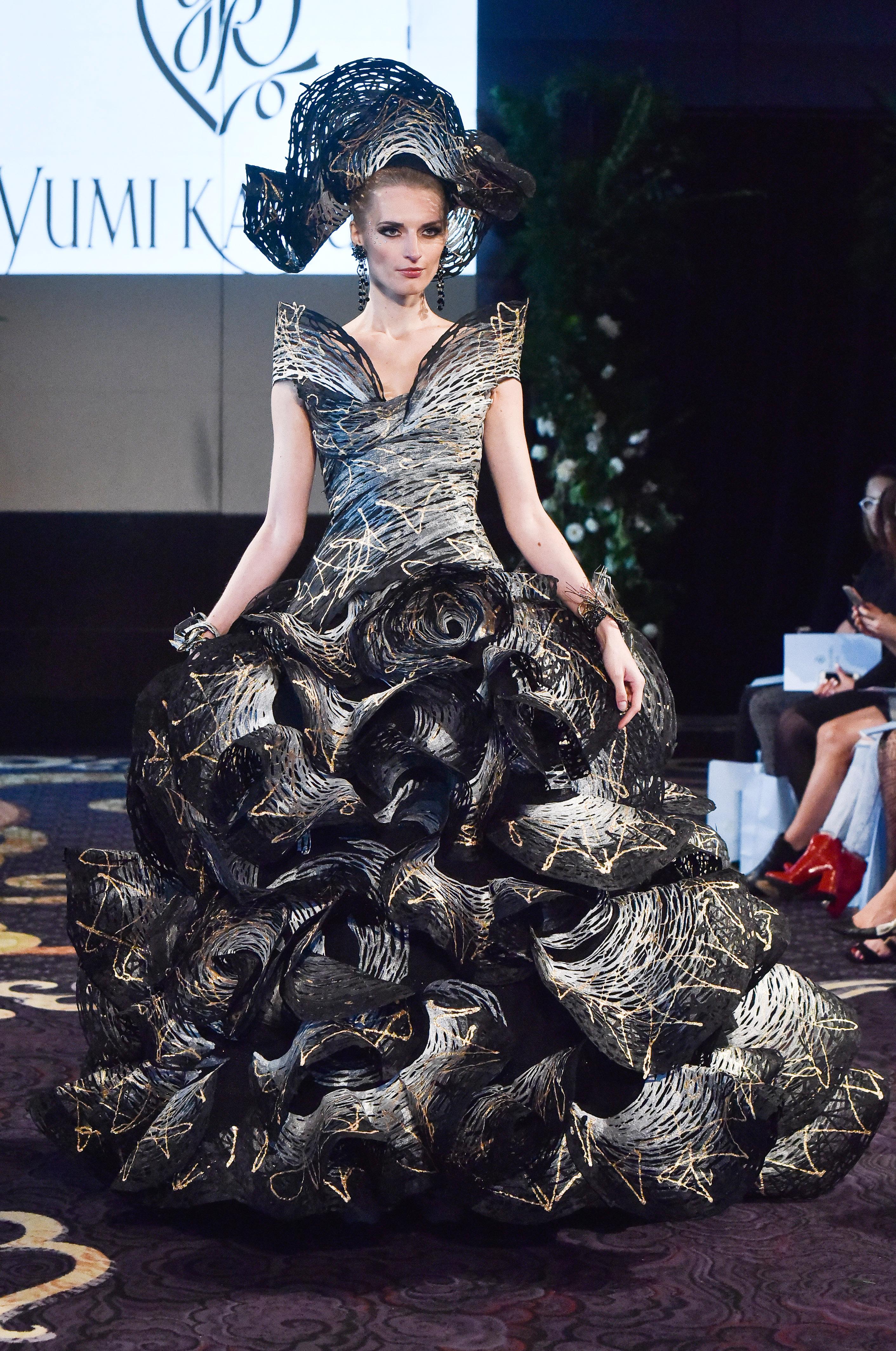 yumi katsura black wedding and white ruffle dress fall 2018
