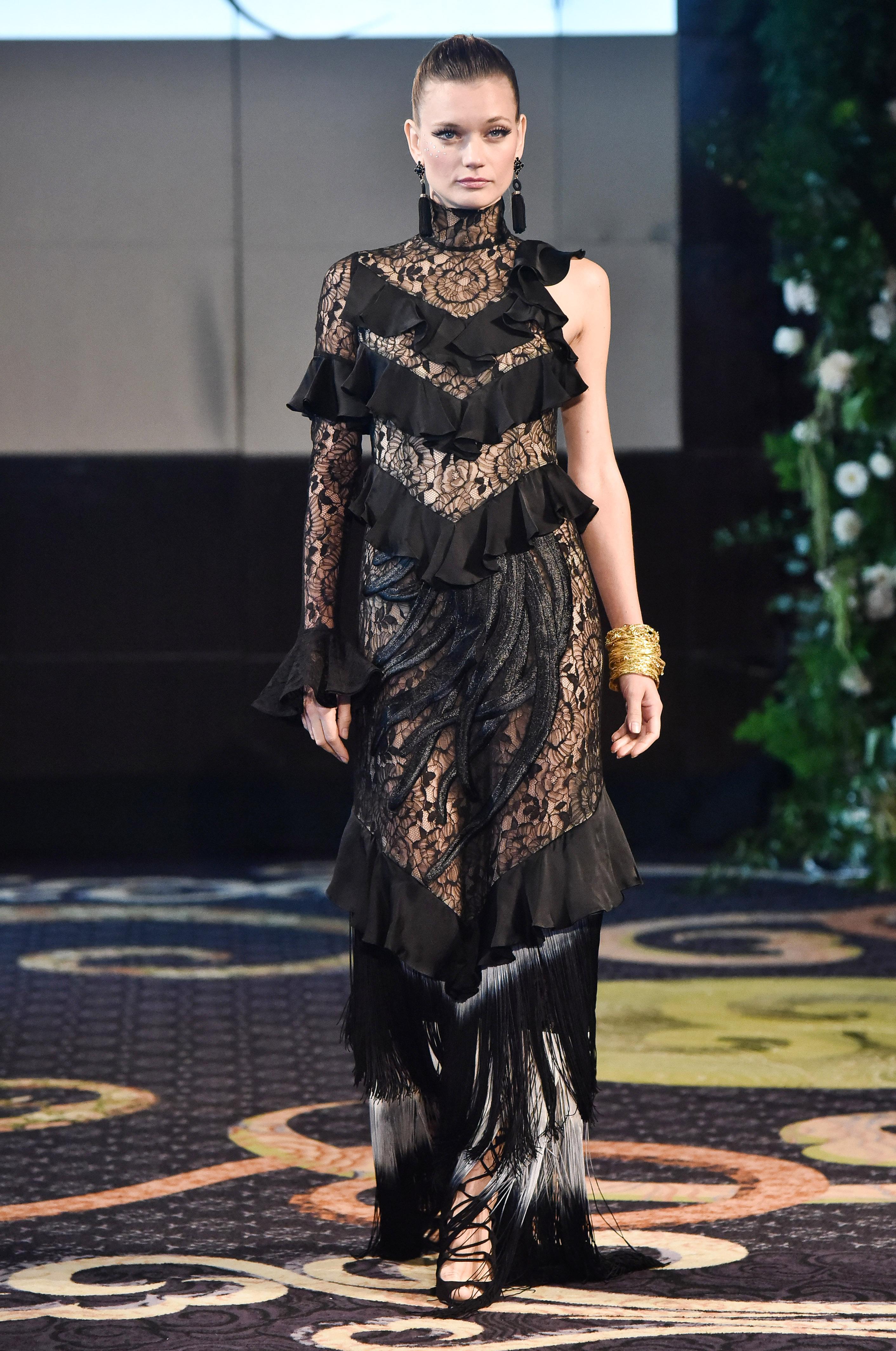 yumi katsura black high neck wedding dress with fringe fall 2018