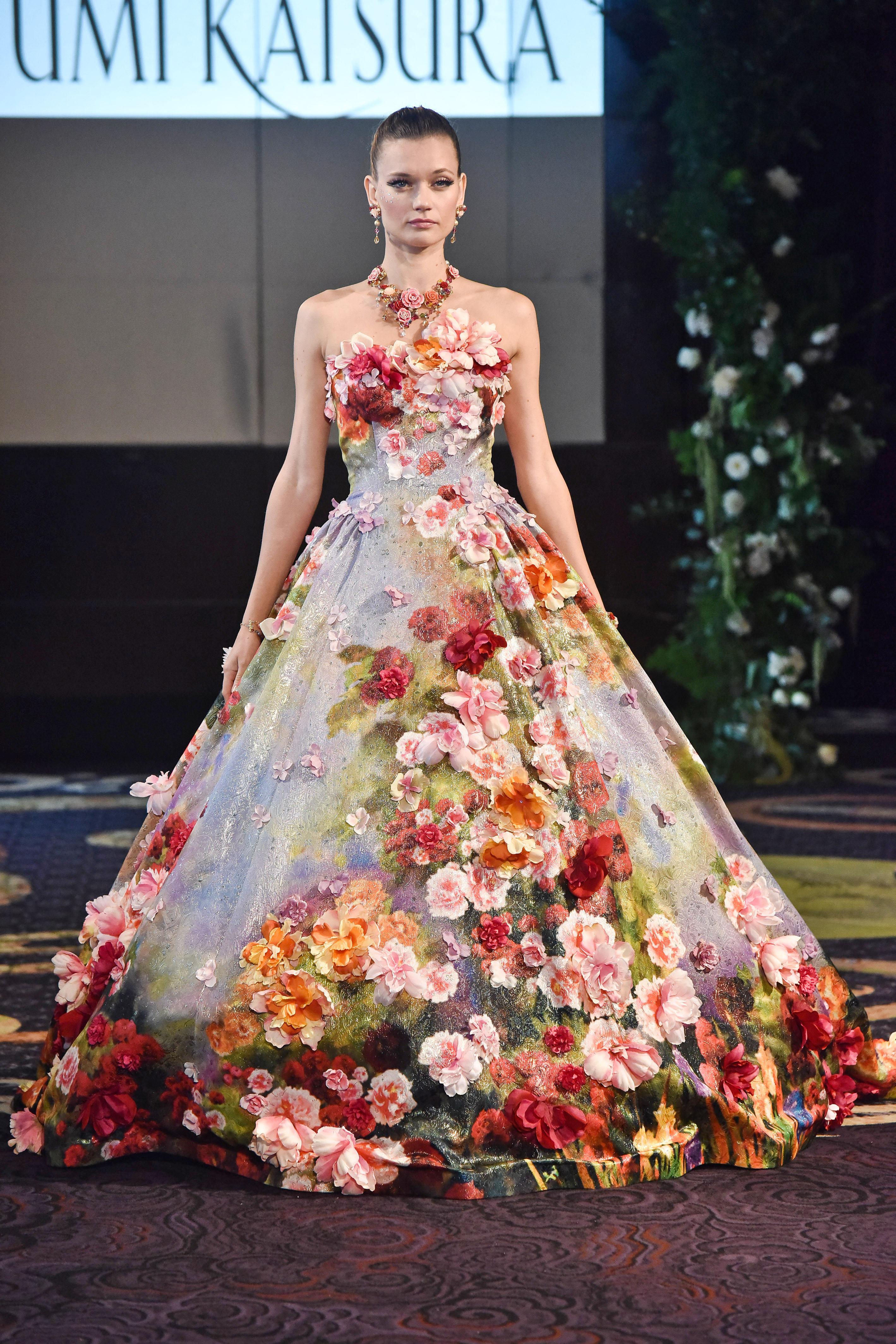 yumi katsura floral a-line ball gown wedding dress fall 2018