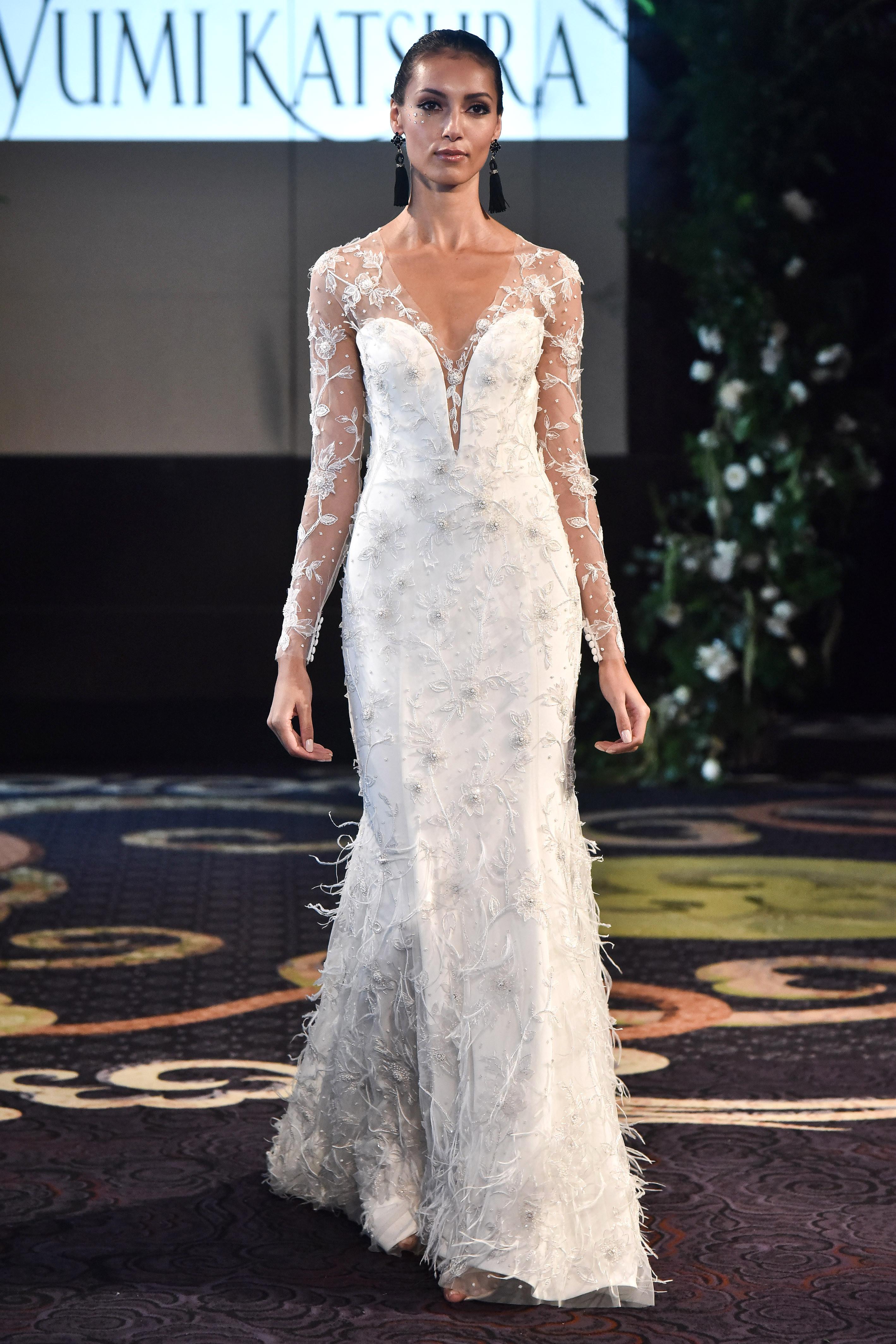 yumi katsura fall 2018 overlay long sleeve wedding dress