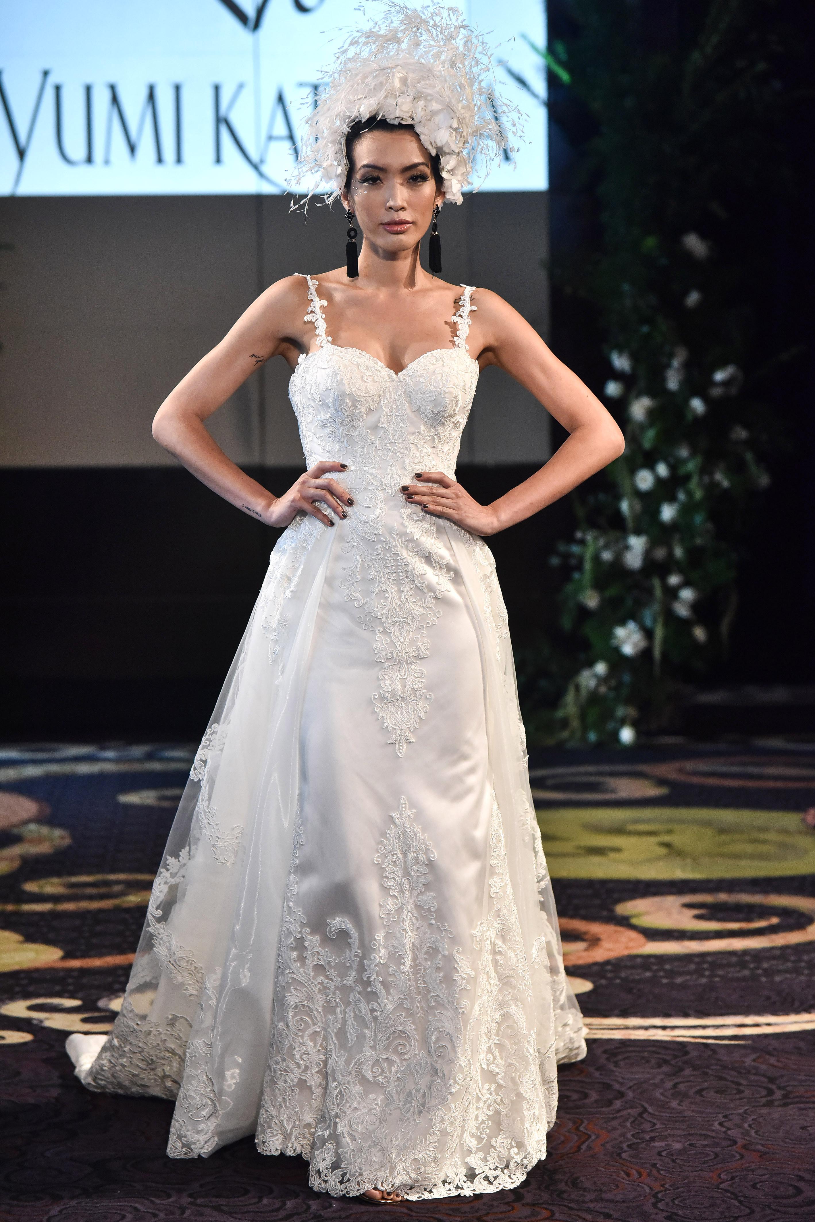 yumi katsura fall 2018 overlay spaghetti strap wedding dress