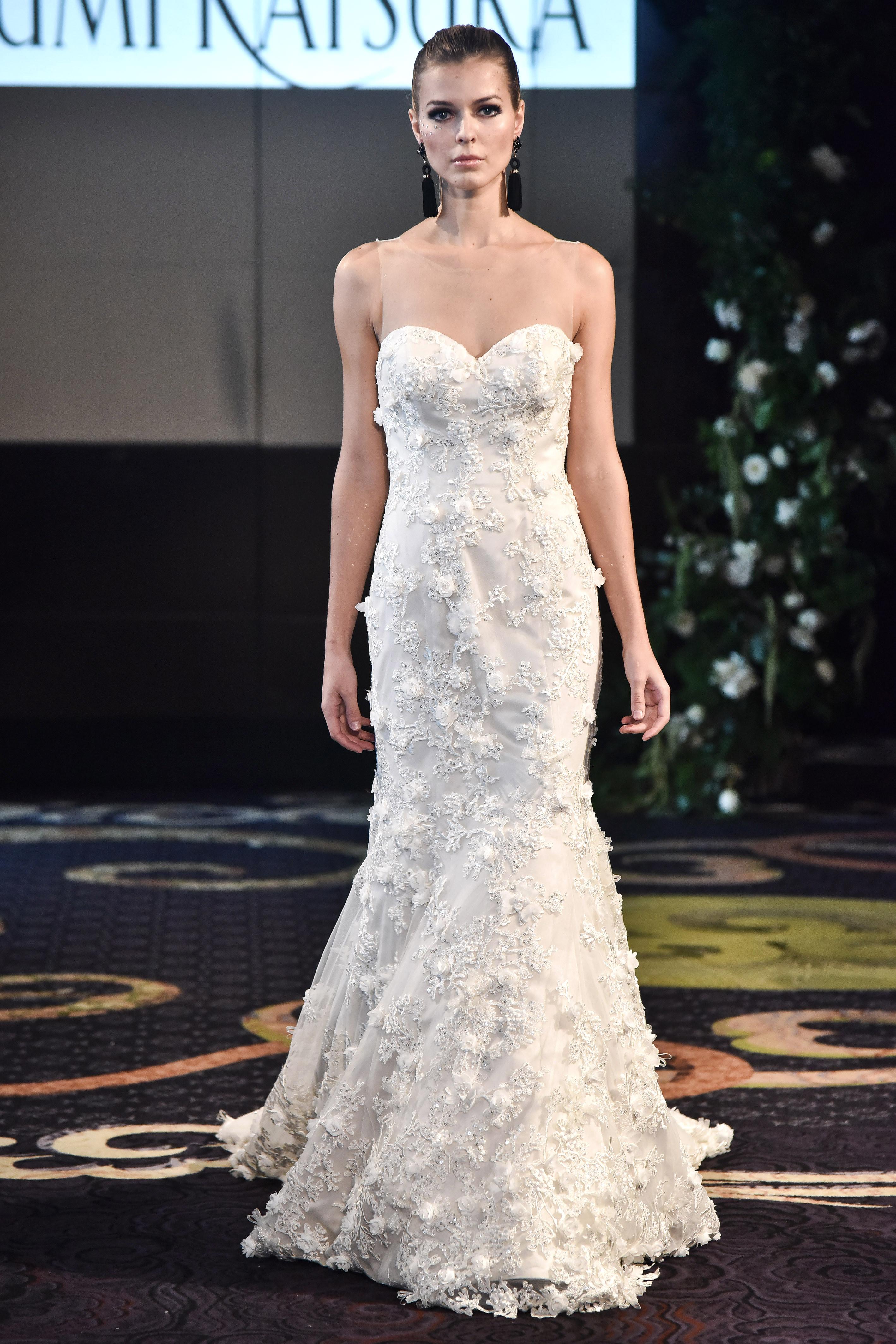 yumi katsura fall 2018 sweetheart sheer wedding dress