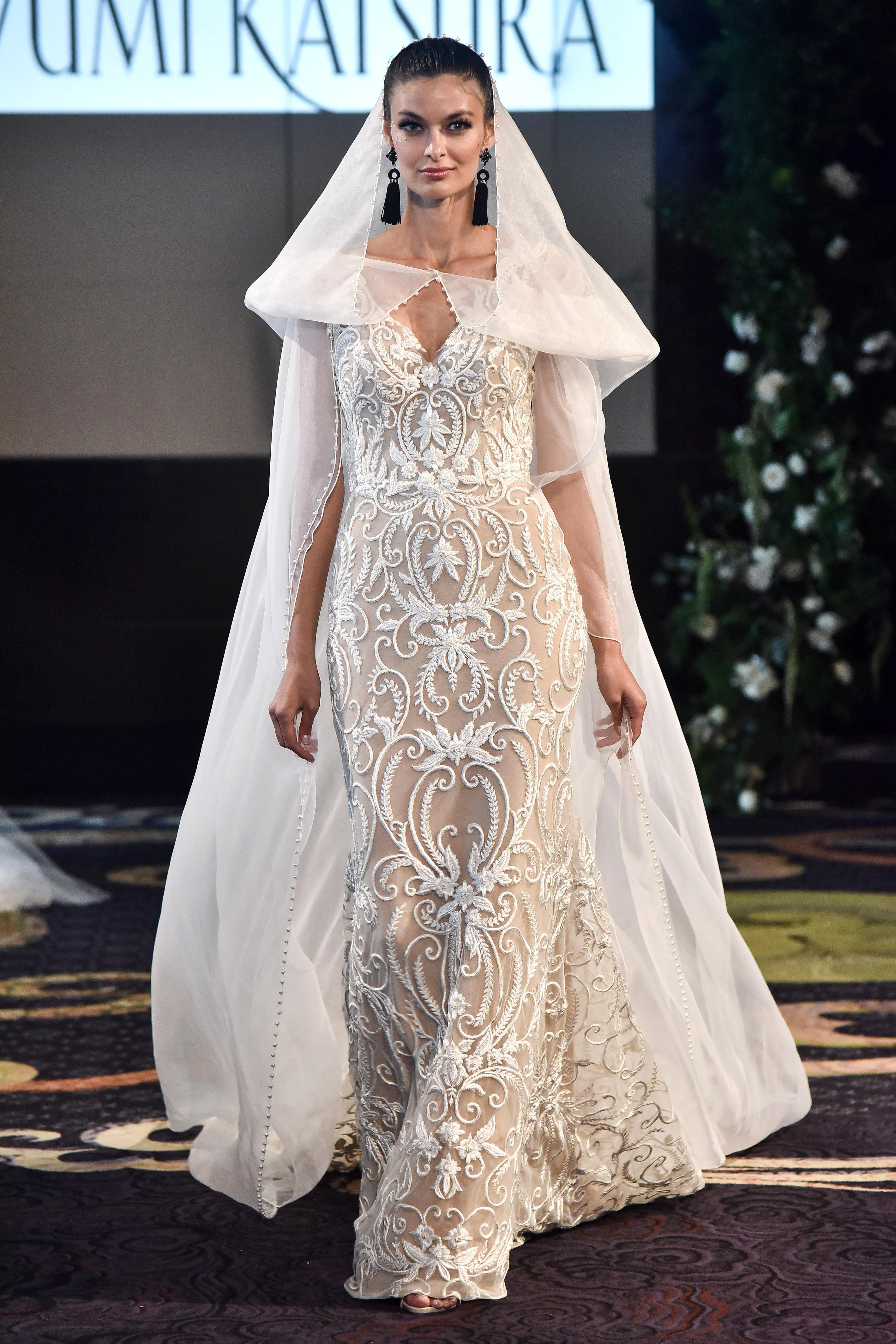 yumi katsura fall 2018 champagne sheer cape wedding dress