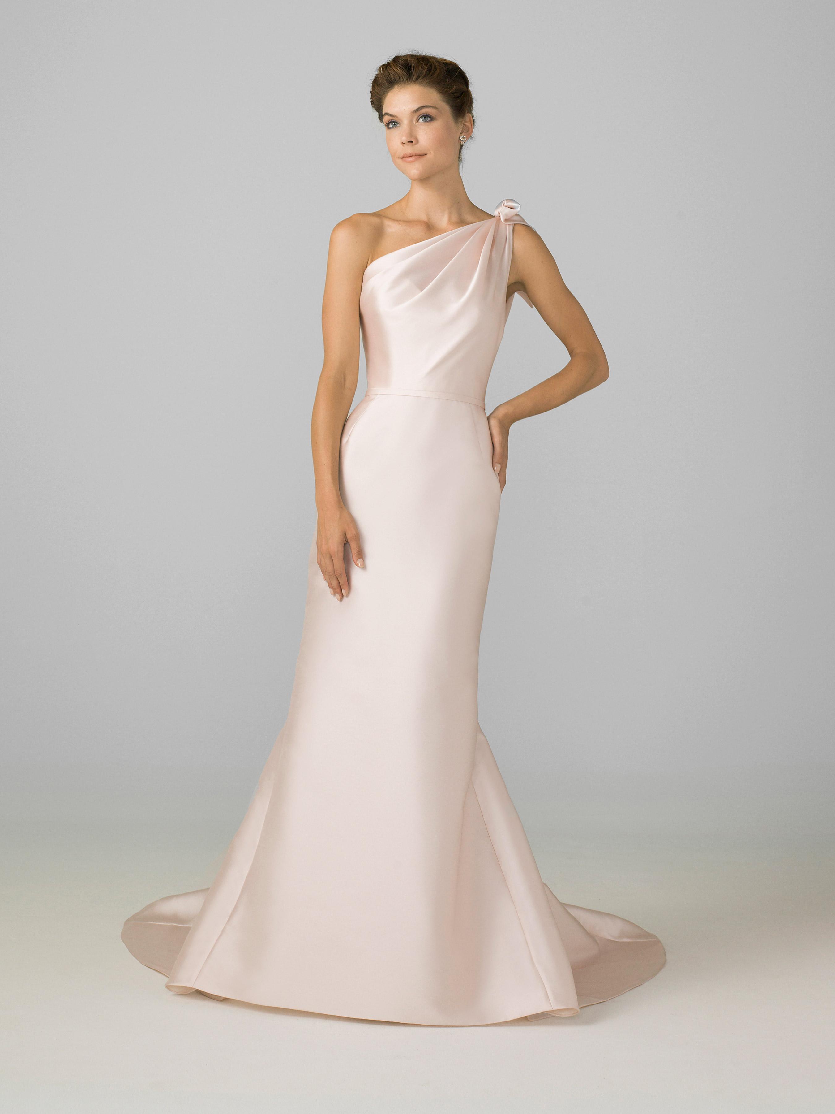 azul by liancarlo 2018 pink one strap  a-line wedding dress