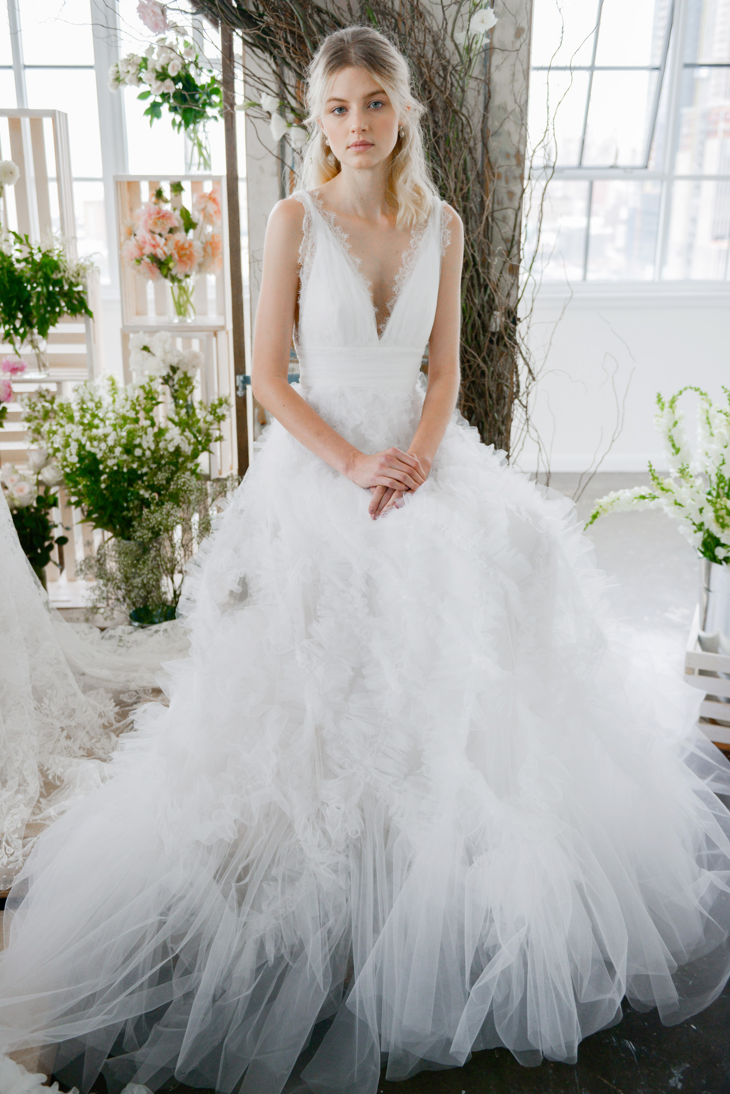 marchesa notte v-neck tule bridal wedding dress fall 2018