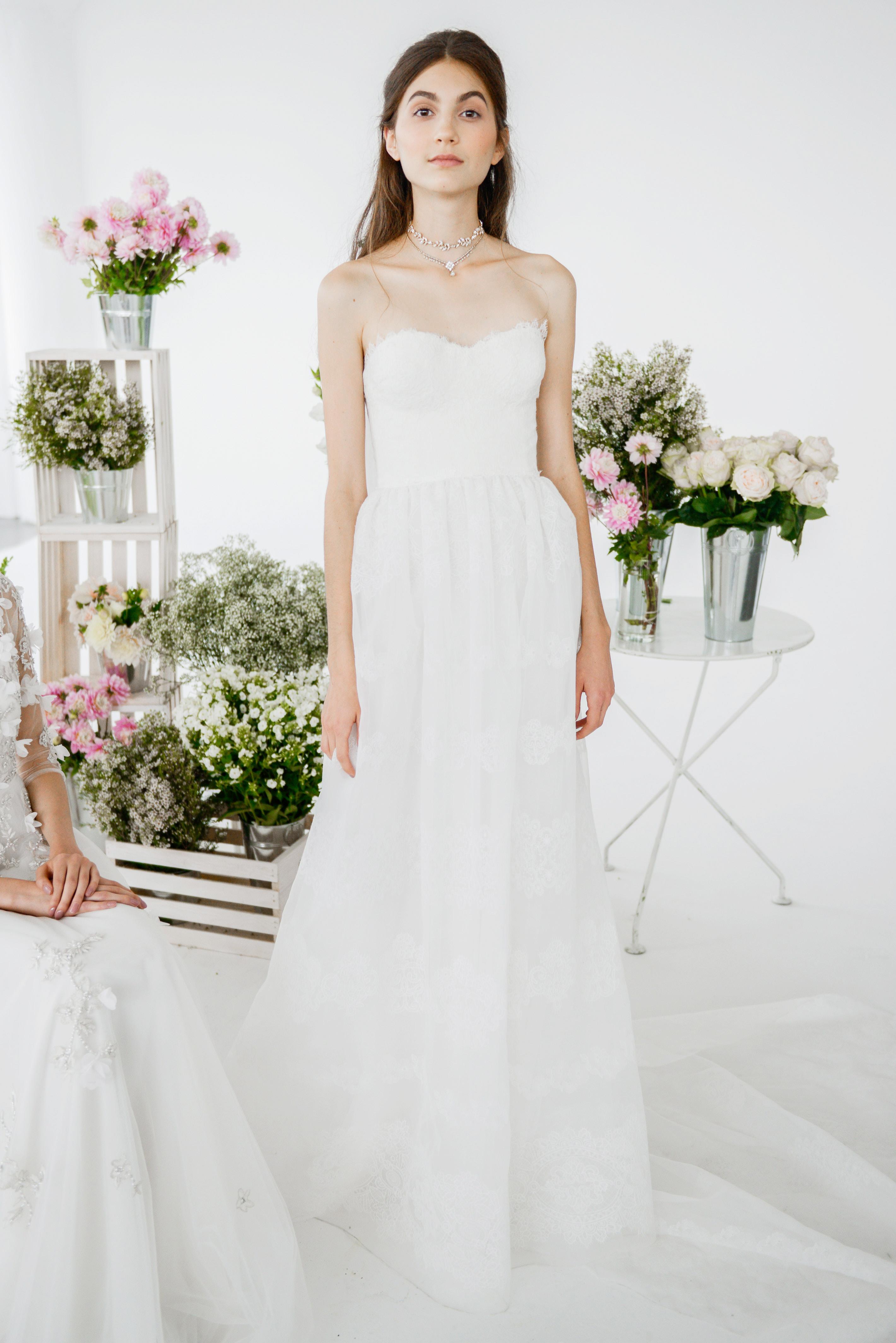 marchesa notte strapless sheath bridal wedding dress fall 2018